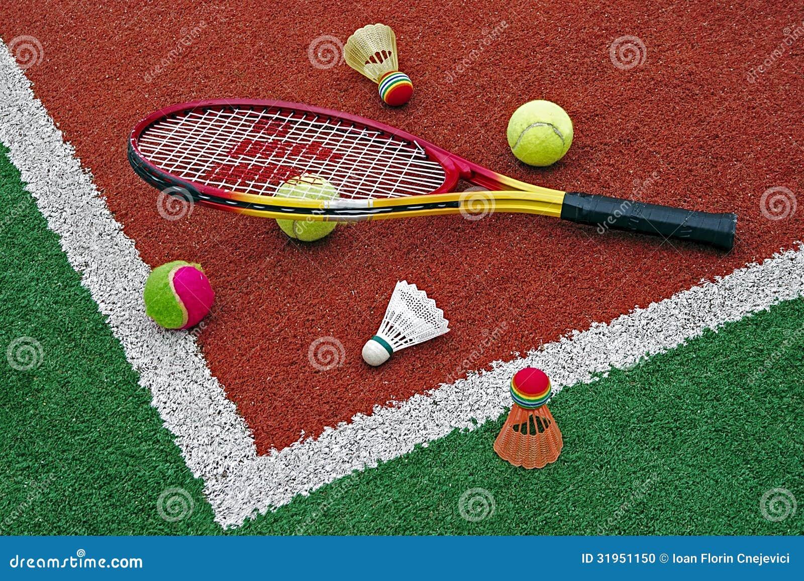 Tennisballen, Badmintonshuttles & racket-2