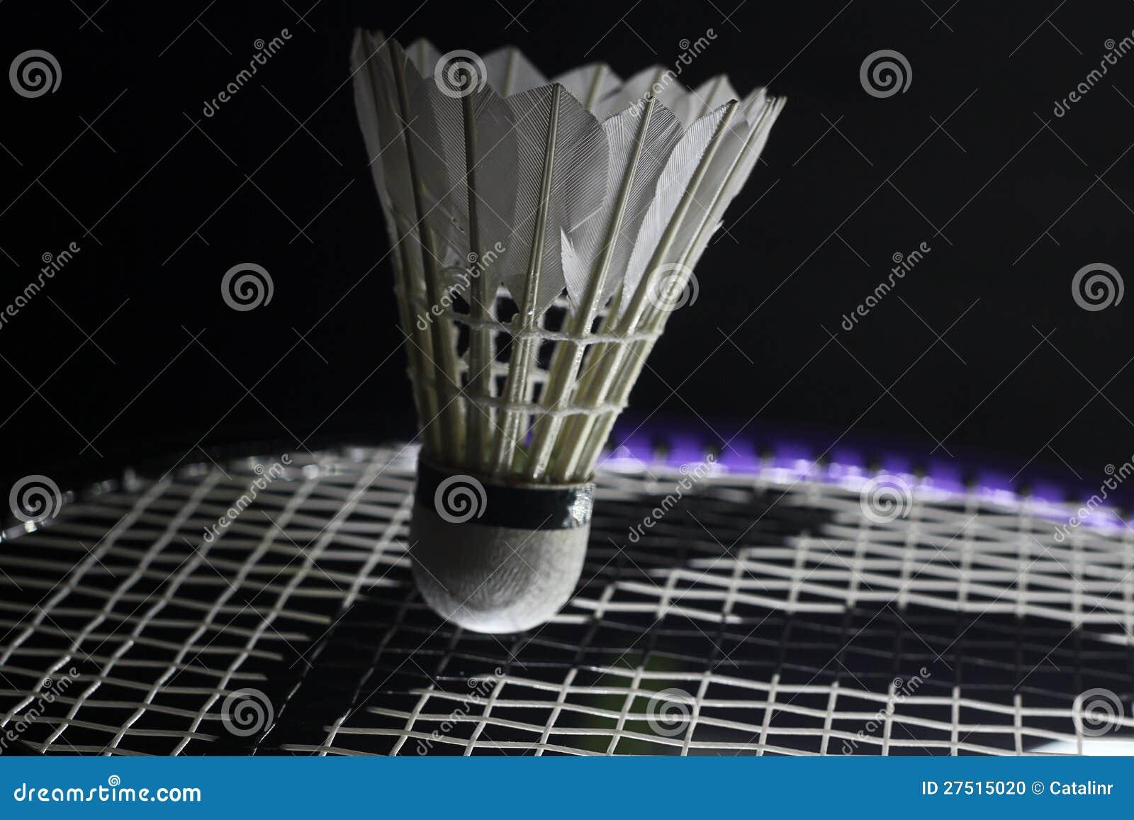 Tennisschläger, der shuttlecock schlägt
