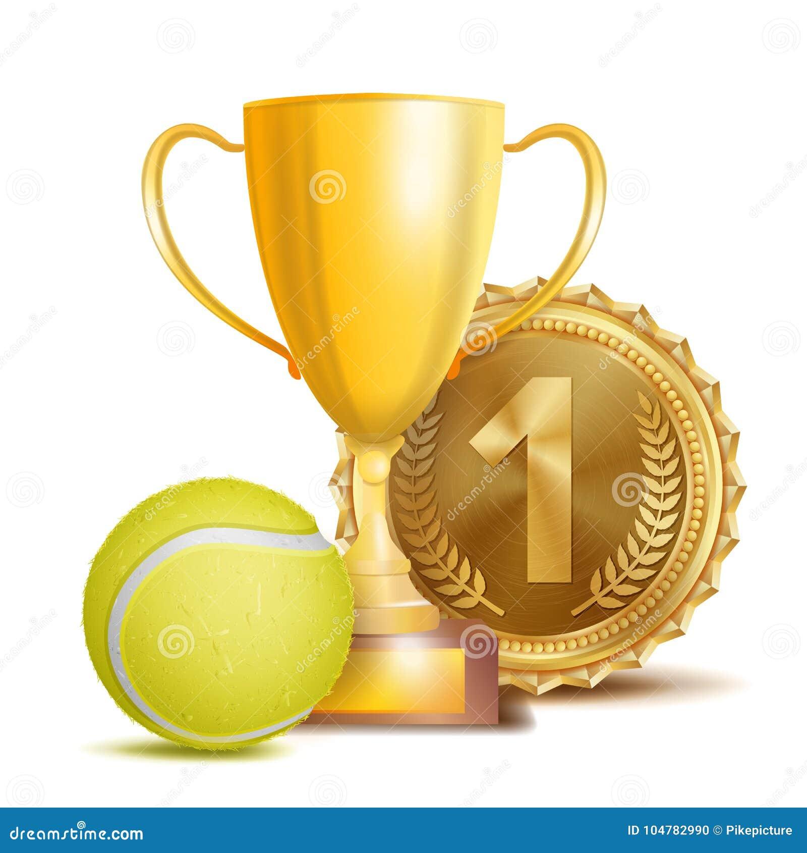 Tennisutmärkelsevektor Sportbanerbakgrund Gul boll, guld- vinnaretrofékopp, guld- 1st ställemedalj realistisk 3D