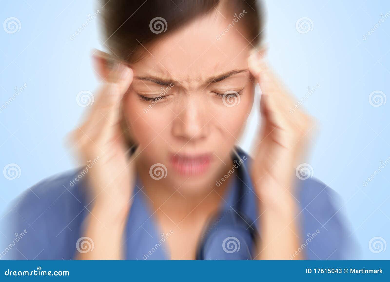 Tensión del dolor de cabeza de la enfermera/del doctor
