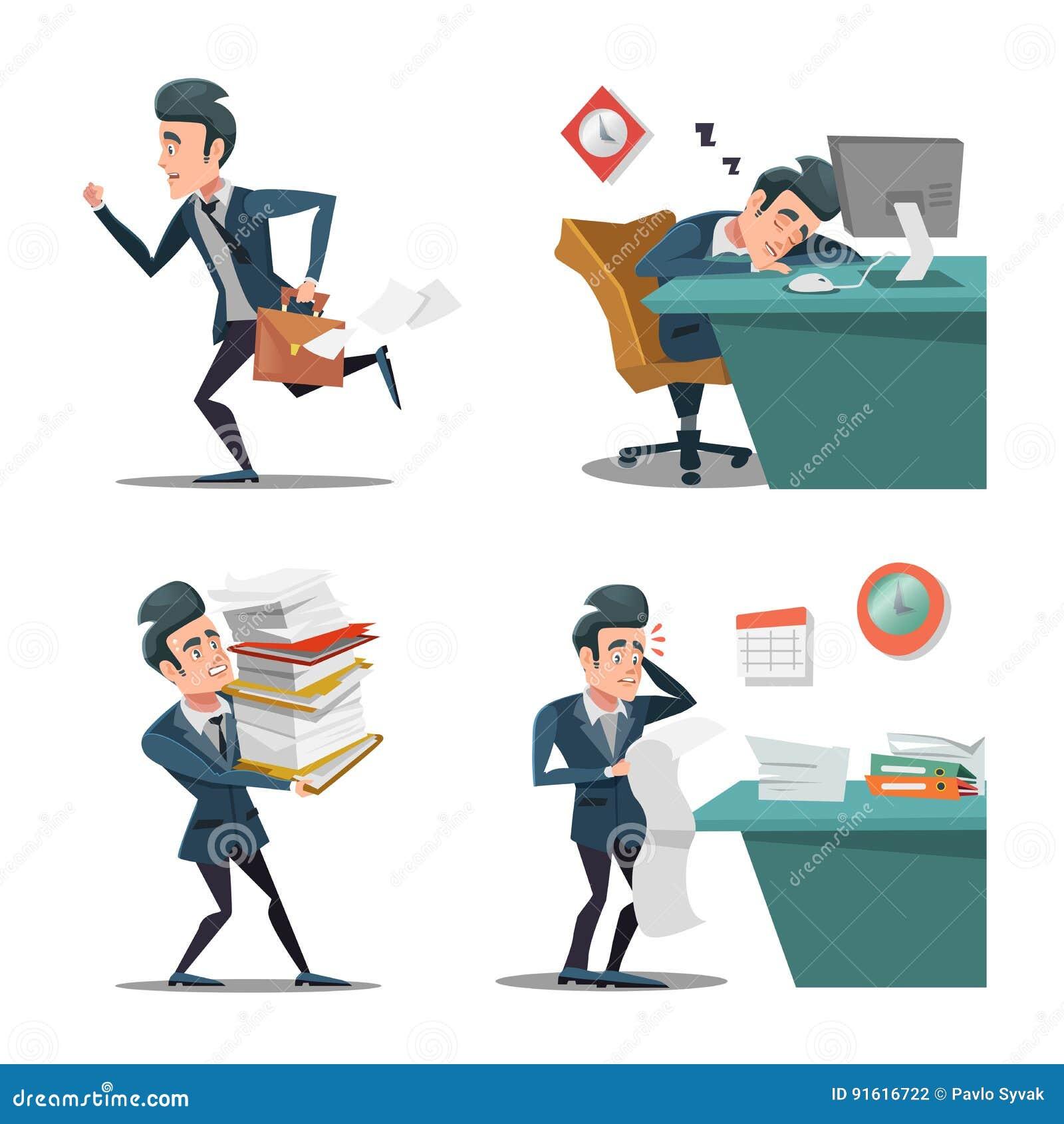 Tension au travail Homme d affaires avec la serviette tard à travailler homme dans la précipitation Des heures supplémentaires da