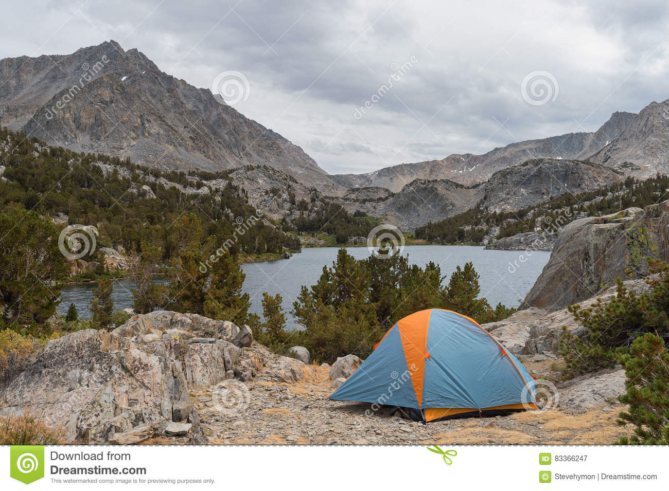 Tent In Beautiful Spot Overlooking Mountain Lake Royalty ...