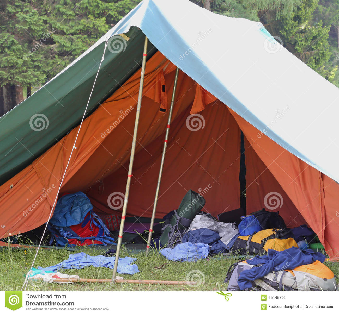 Tent Of Boy Scout Camp With Backpacks And Sleeping Bags Spread O