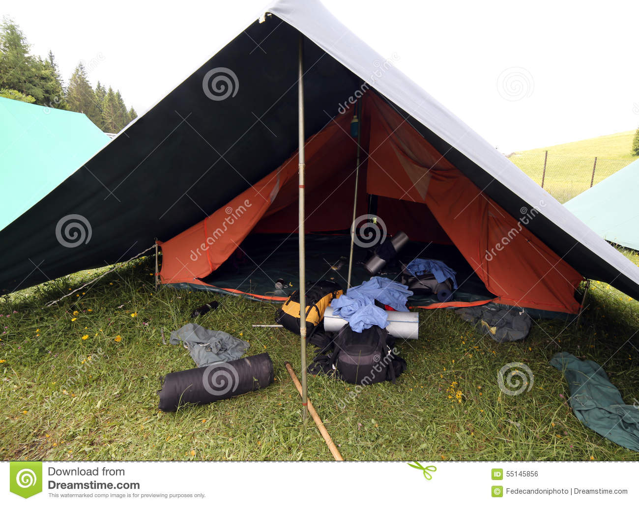 Tent of boy scout c& with backpacks and sleeping bags spread o  sc 1 st  Dreamstime.com & Tent Of Boy Scout Camp With Backpacks And Sleeping Bags Spread O ...