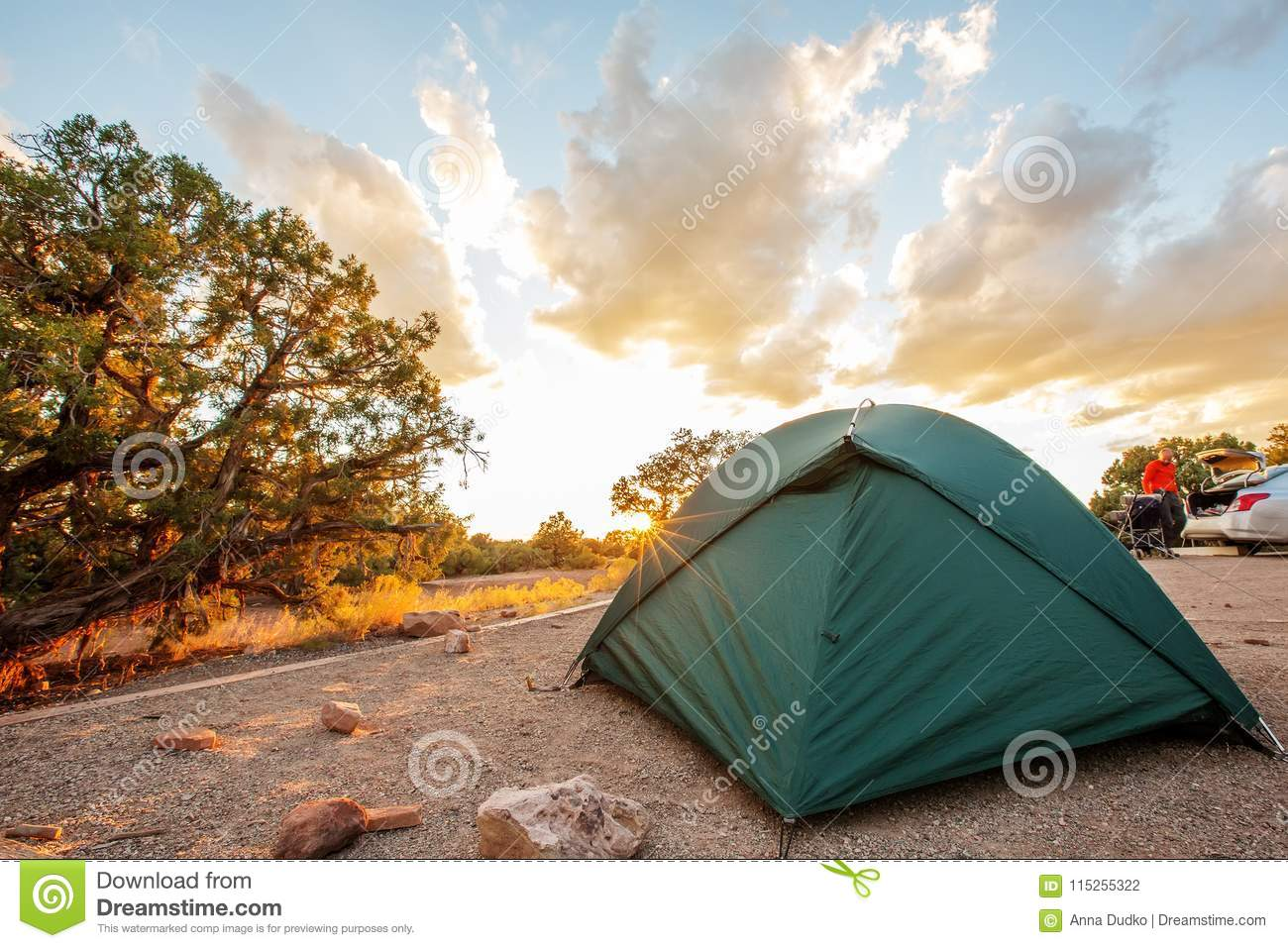 Tent In The Camping Of Canyonlands National Park In Utah Usa Stock