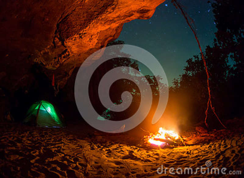 Download Tent Camping Car Couple Romantic Sitting By Bonfire Night Countryside Stock Image