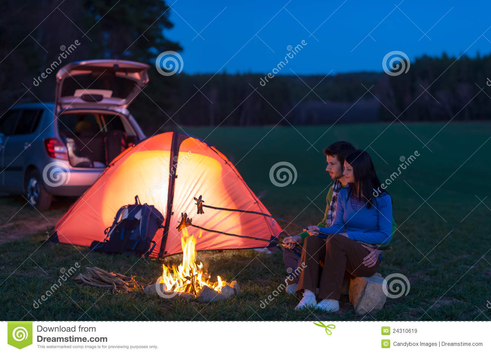 Tent c&ing car couple sitting by bonfire  sc 1 st  Dreamstime.com & Tent Camping Car Couple Sitting By Bonfire Stock Image - Image of ...