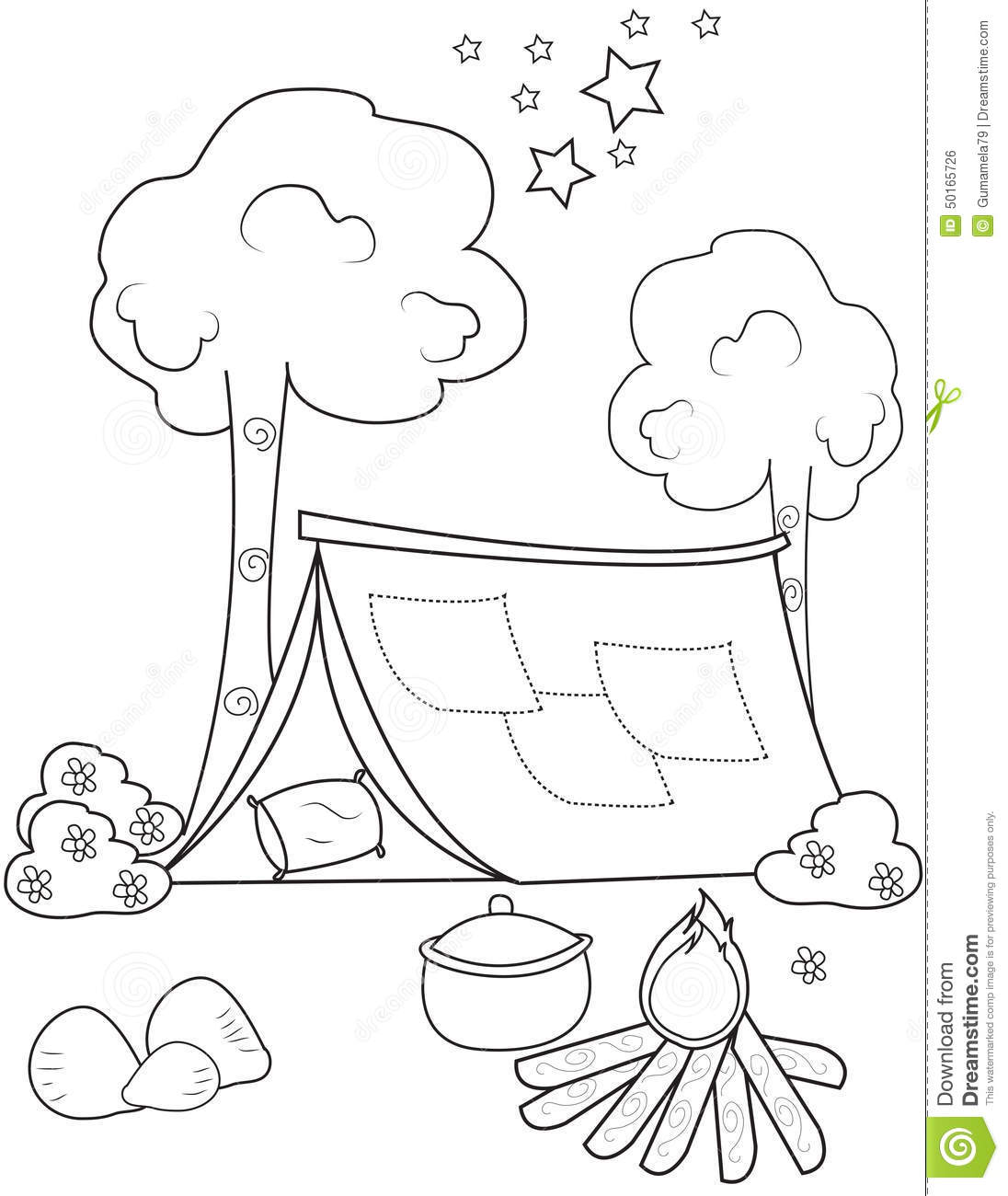 tent coloring page stock illustration