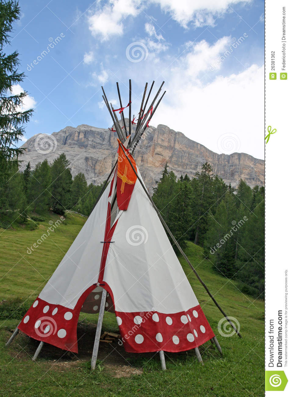 Tent Cone Shaped In An Indian Reserve Stock Photo - Image