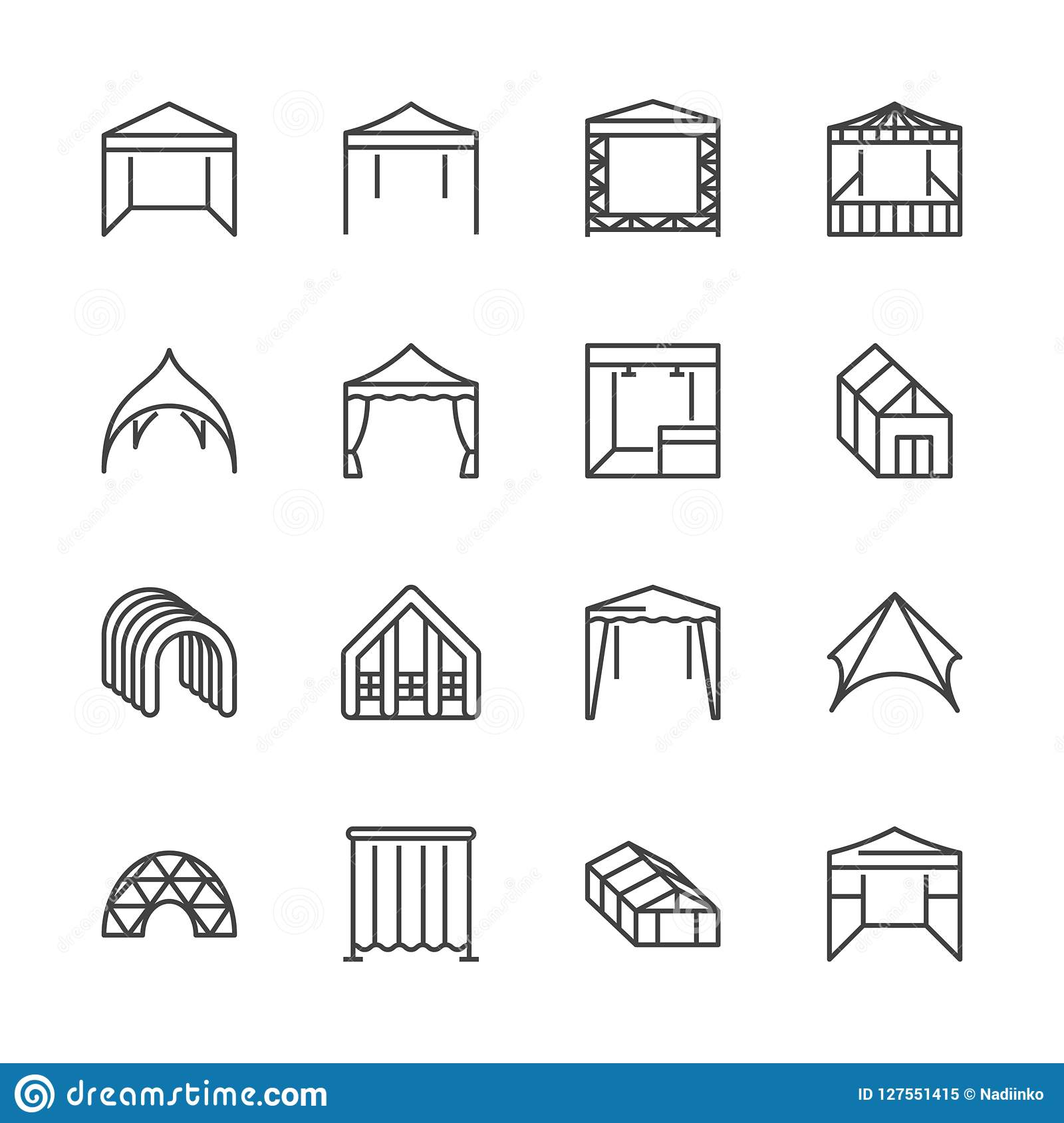 tent flat line icons event pavilion trade show awning outdoor wedding marquee canopy vector illustrations thin signs mobile 127551415 tent flat line icons event pavilion, trade show awning, outdoor