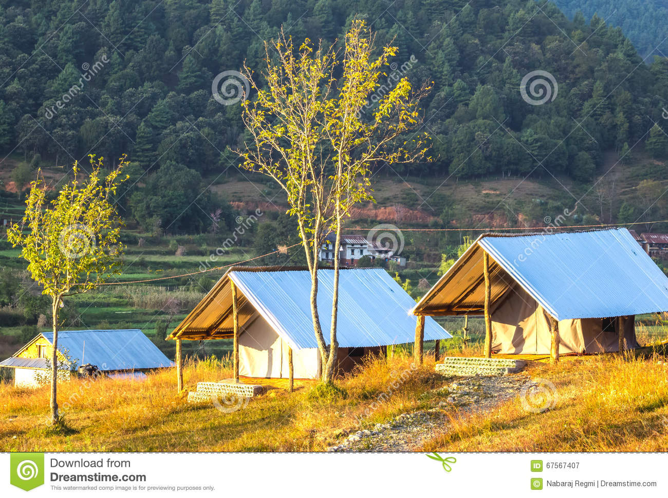 Tent house in Nepal & Tent house in Nepal stock image. Image of hiking building - 67567407