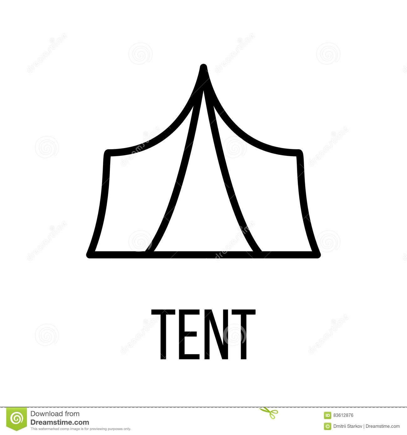 Tent icon or logo in modern line style.