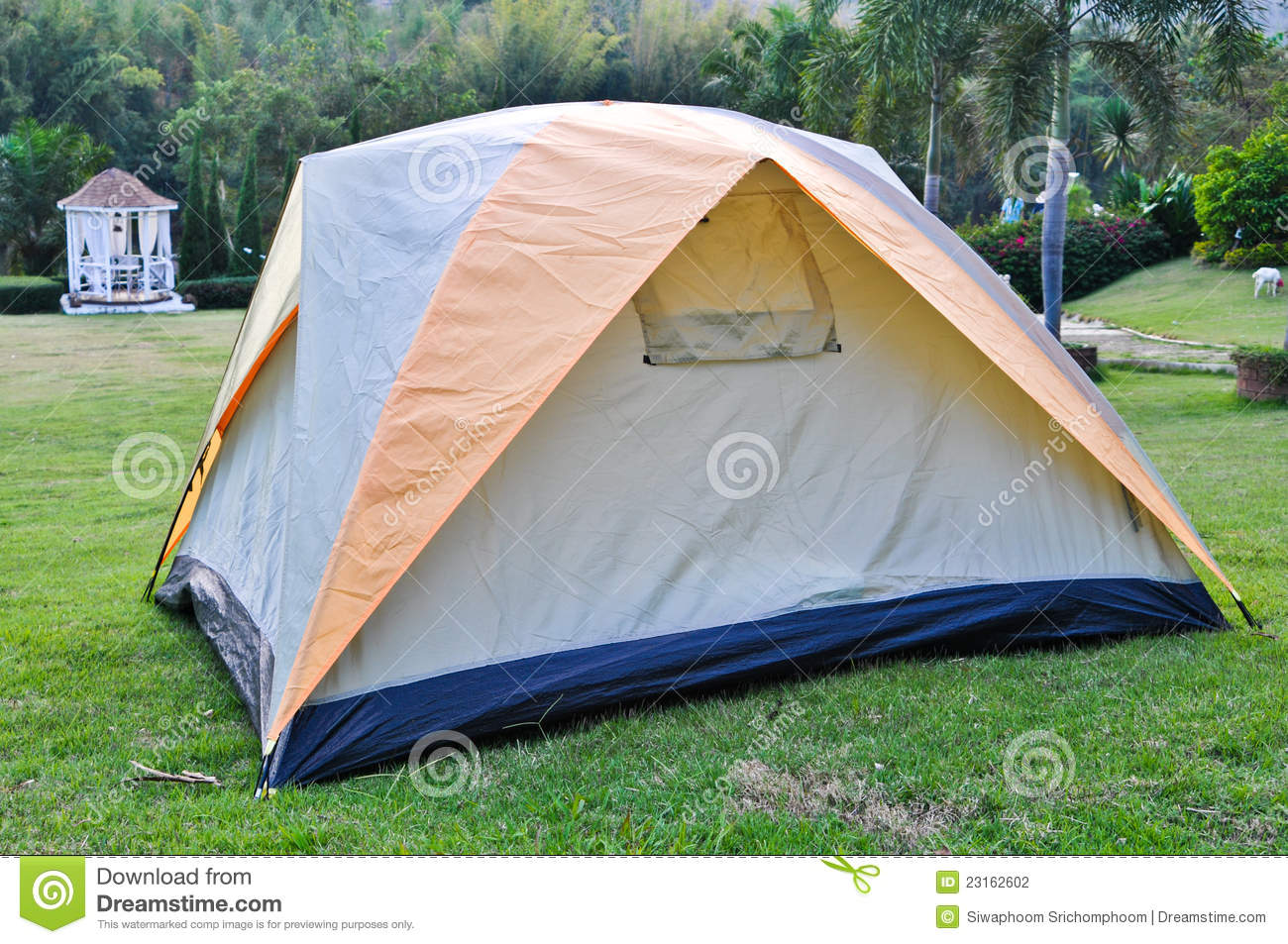 Tent on lawn stock photo  Image of camping, shop, protection