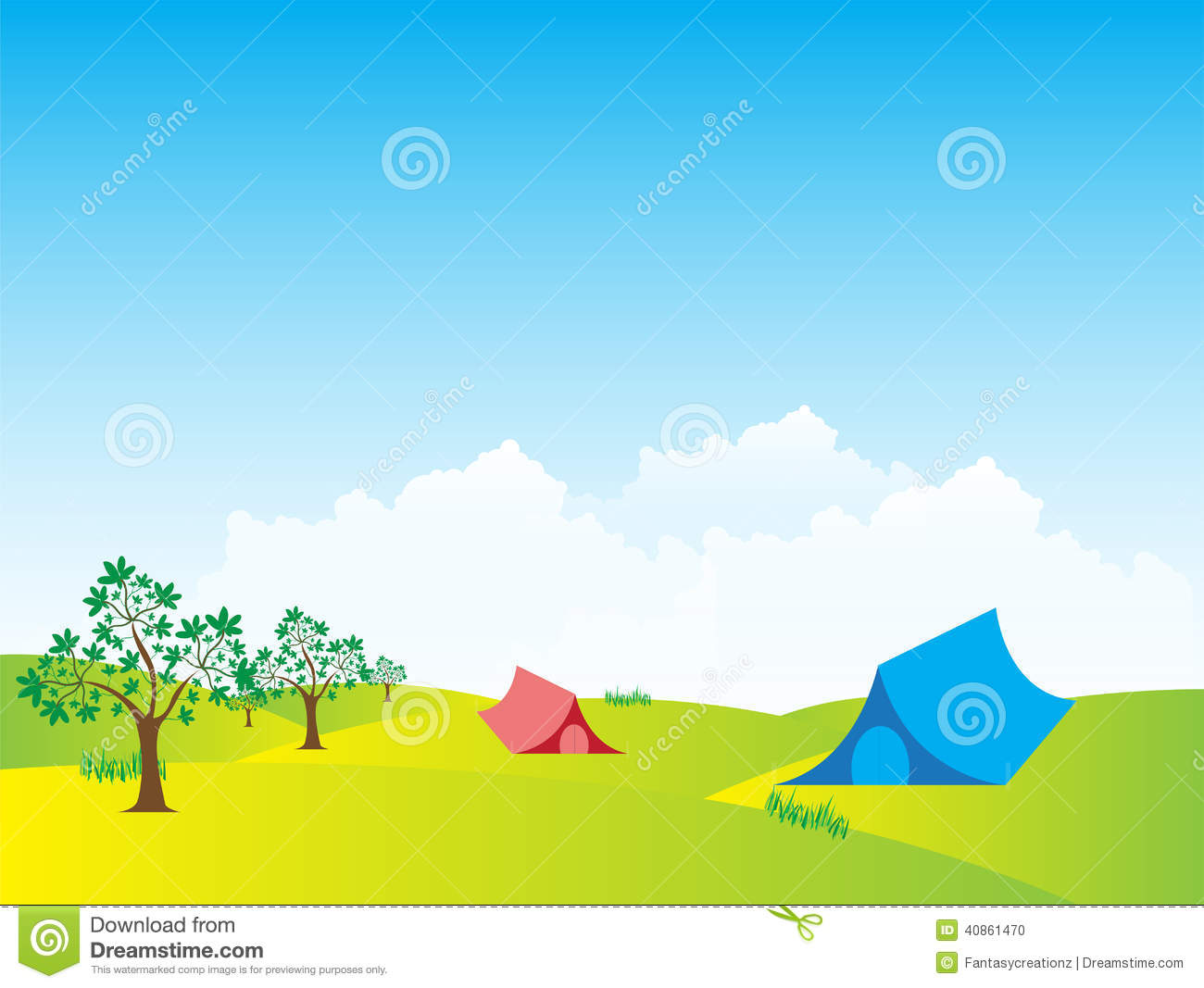 Tent Meadows Landscape Stock Vector Illustration Of Backpack