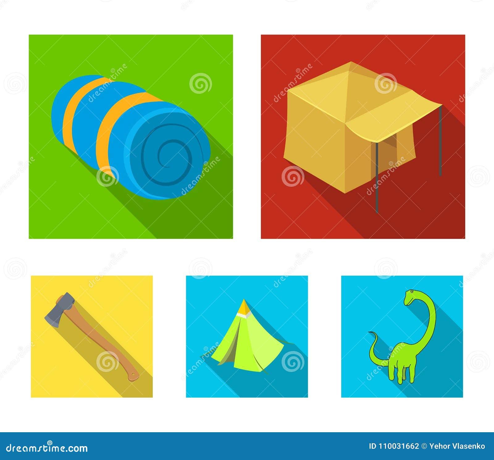 Tent met het afbaarden, bijl en andere toebehoren Pictogrammen van de tent de vastgestelde inzameling in het vlakke Web van de de