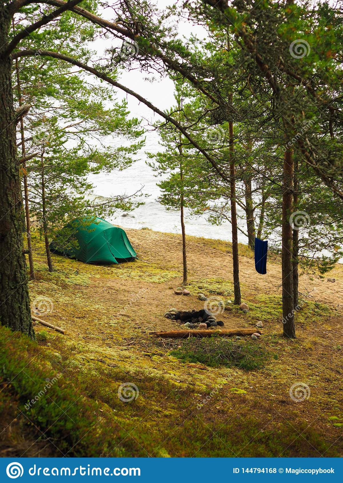 The tent stands on the shore of forest laken