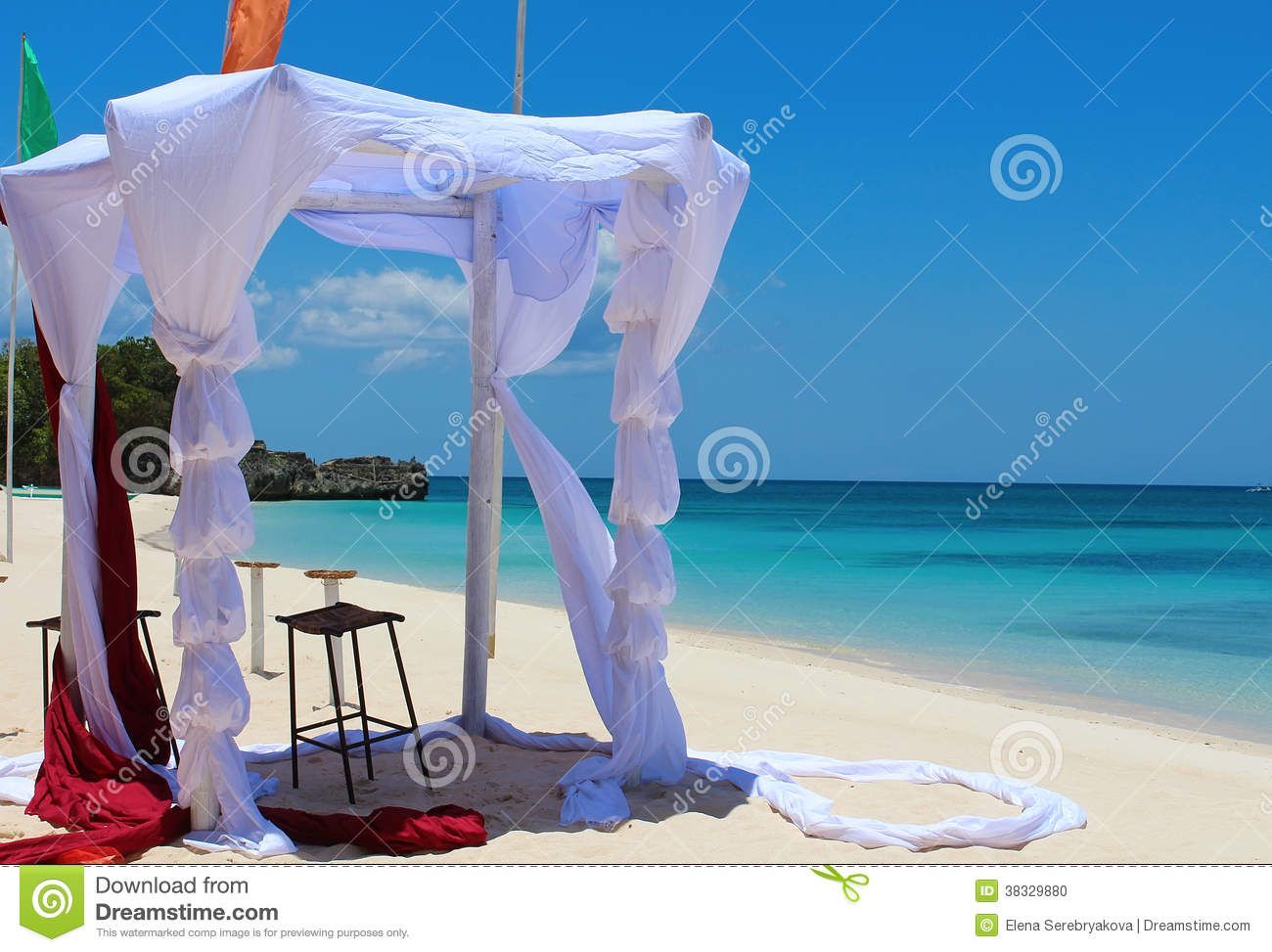 Tent For A Wedding Ceremony On The Tropical Beach Stock Photo