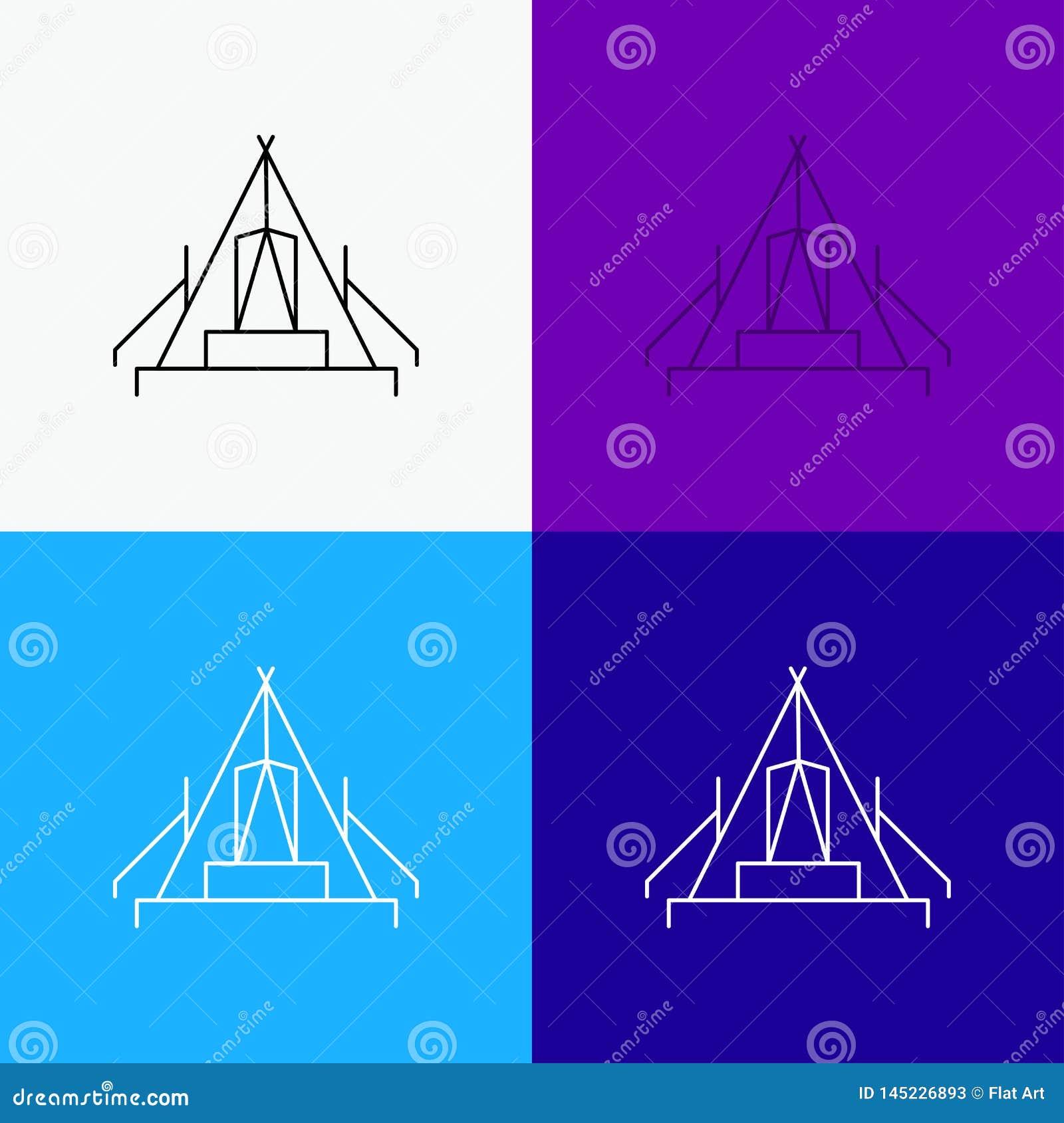 Tente, camping, camp, terrain de camping, icône extérieure au-dessus de divers fond Ligne conception de style, con?ue pour le Web