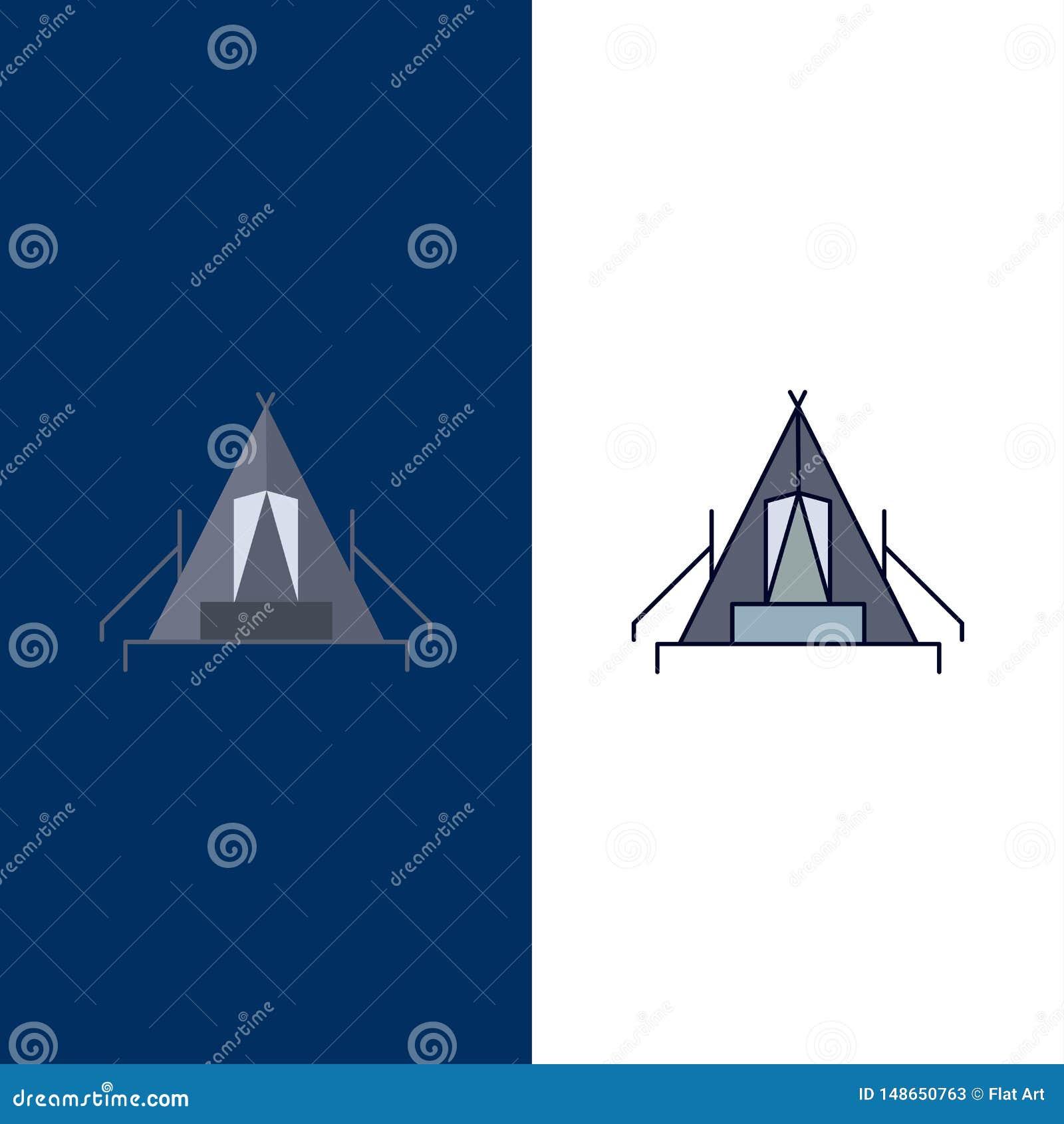 Tente, camping, camp, terrain de camping, vecteur plat extérieur d icône de couleur