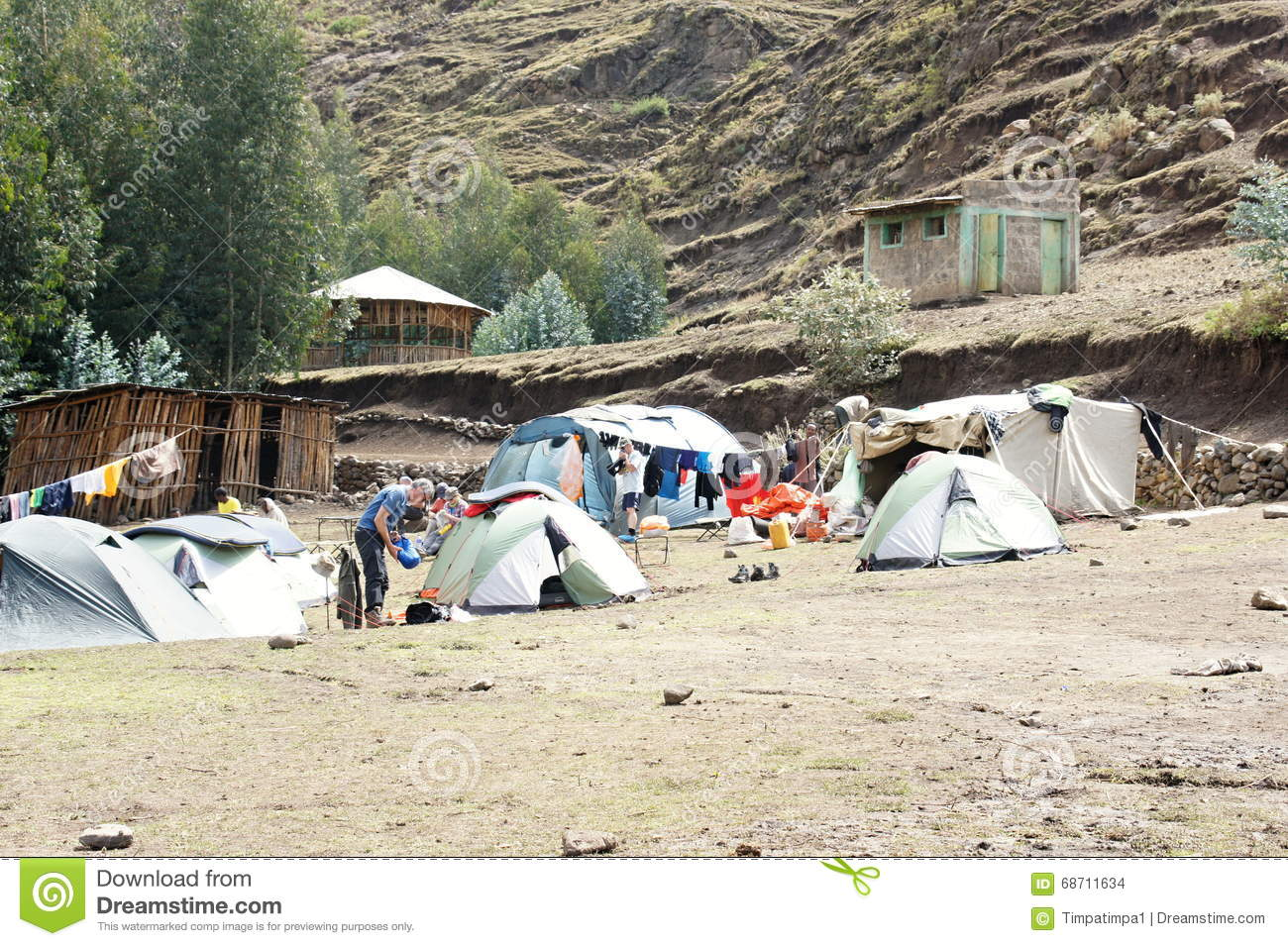 Tents In Campsite Ambikwa, Simien Mountains Editorial Stock