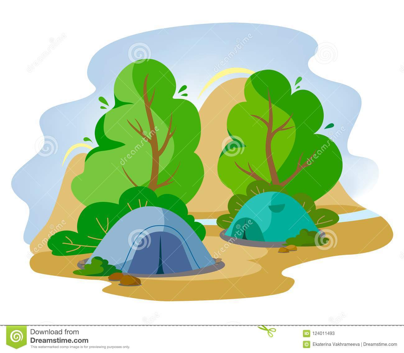 Tents in the forest next to the mountains in the style of flat. Traveling with tents to the mountains.