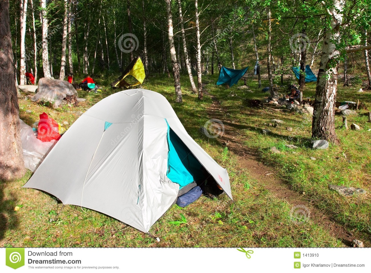 Tent In The Woods : Tents in the woods stock photo image