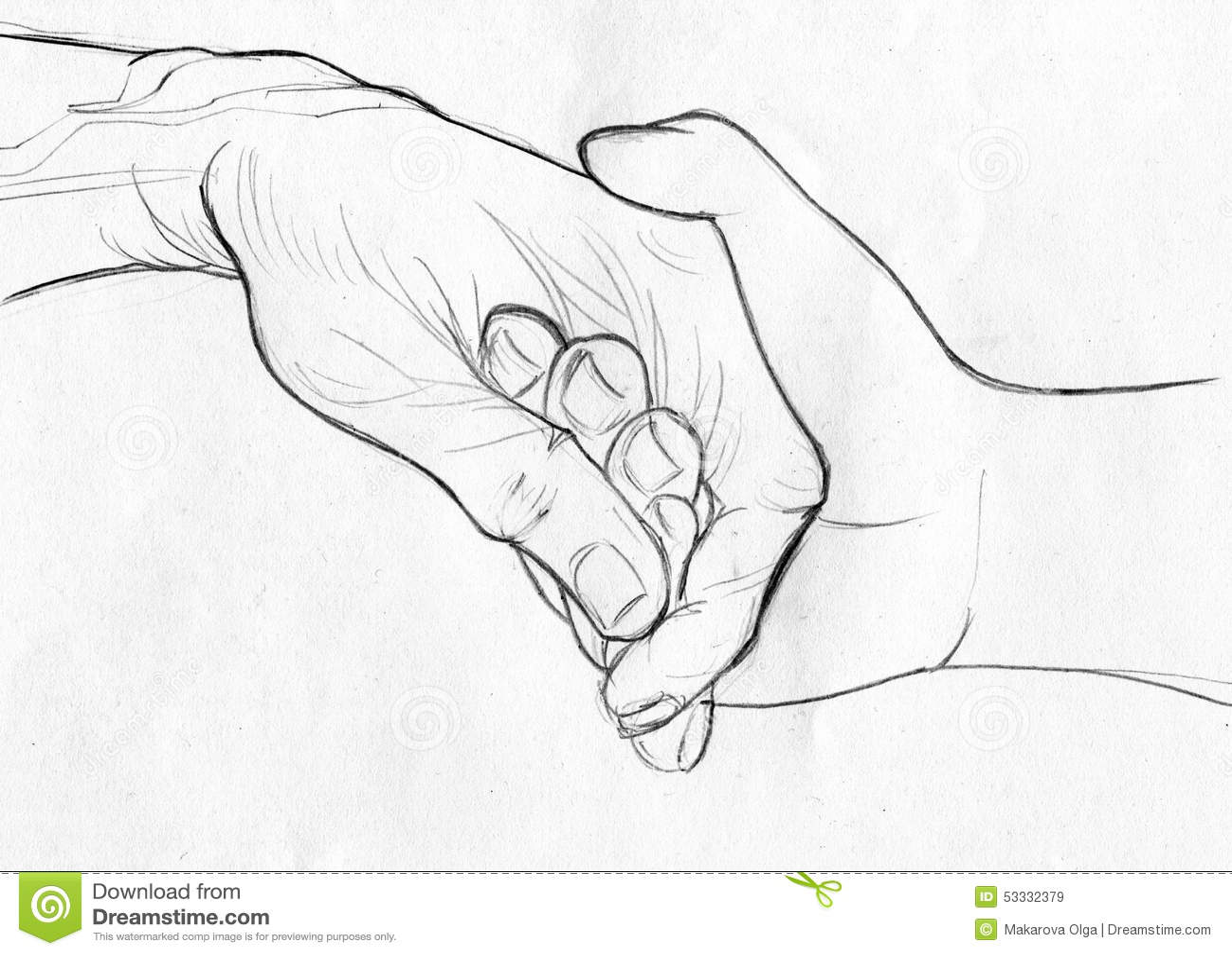 Tenuta Dello Schizzo A Mano Anziano Della Matita Illustrazione Di
