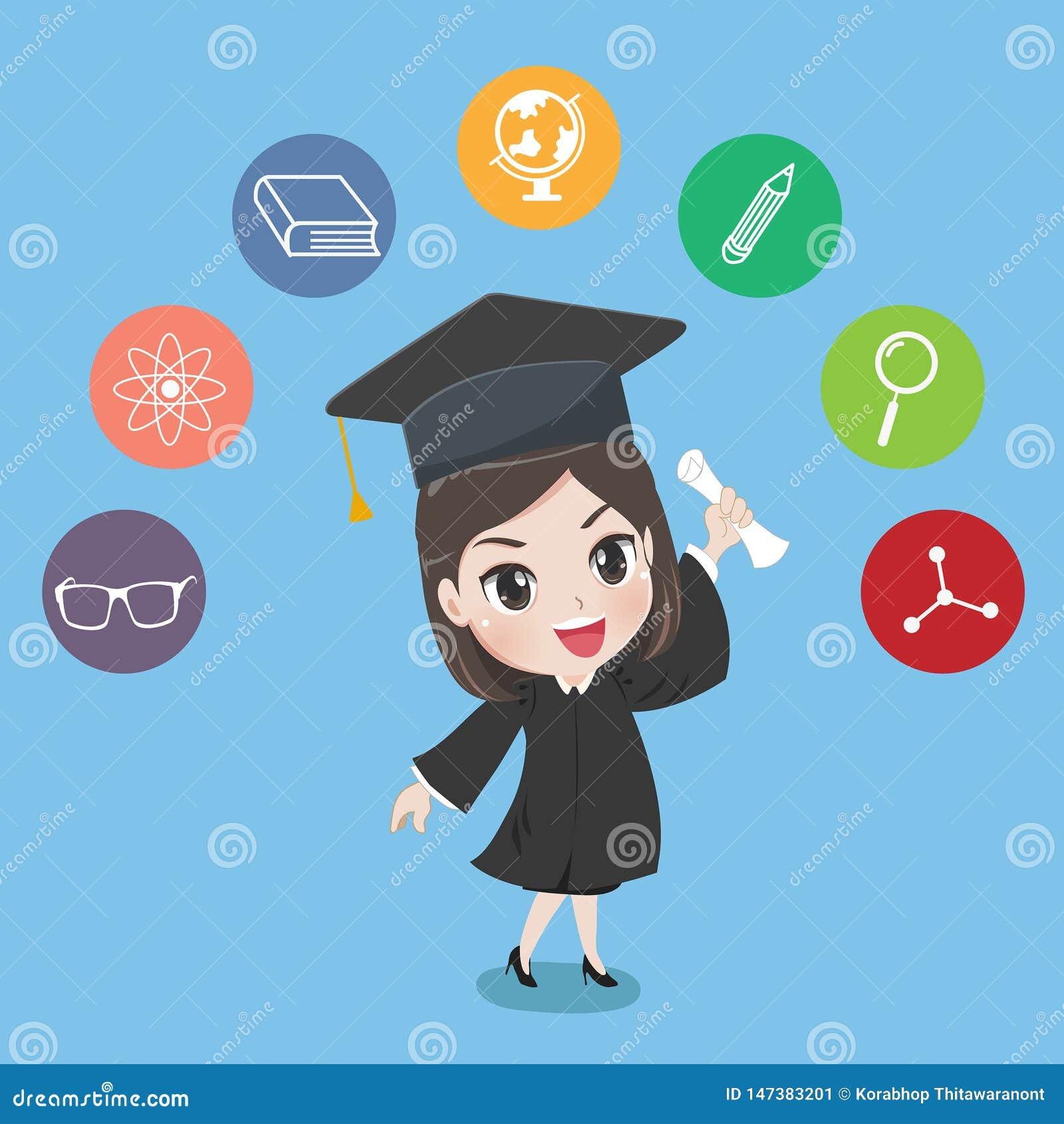 Tenuta graduata della ragazza il certificato con orgoglio
