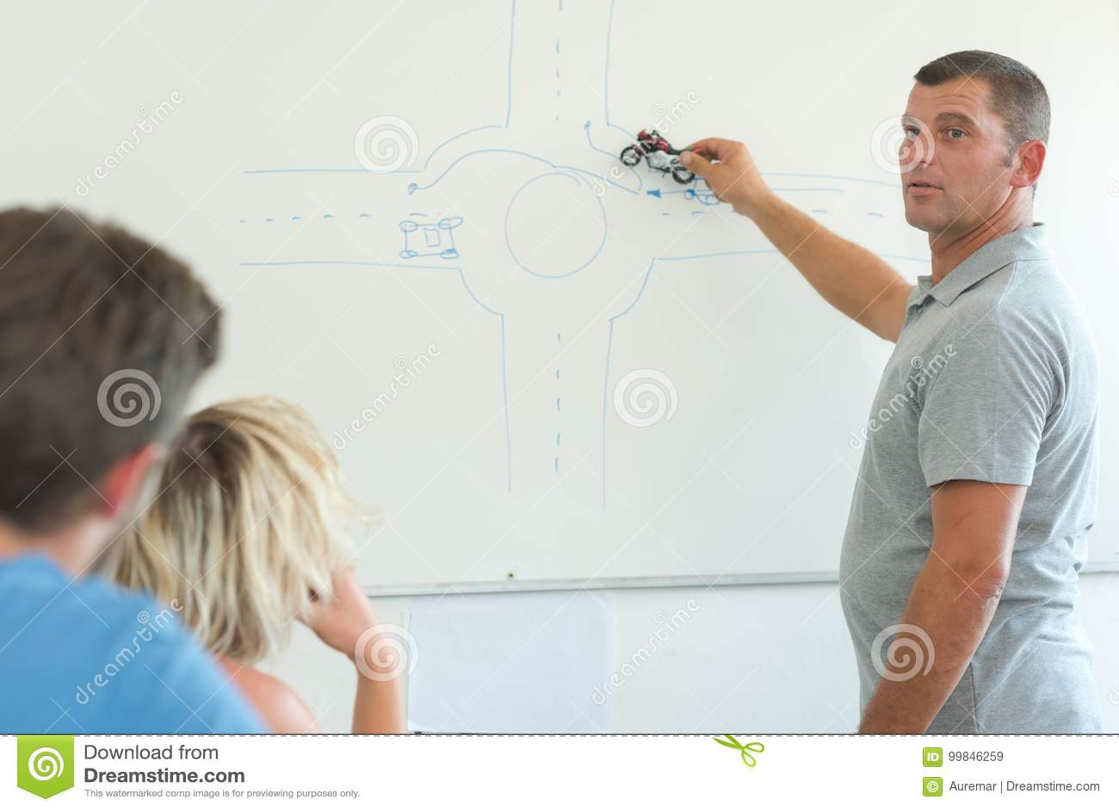 Teoria d istruzione dell uomo che guida intorno alla rotonda