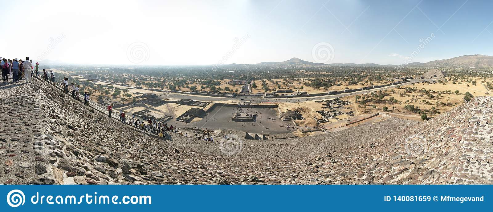 Panoramic view of the Teotihuacan pyramids, a UNESCO World Heritage Site.