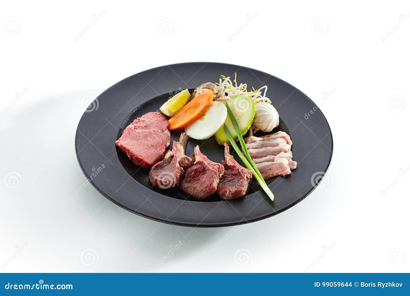 Teppanyaki Japanese And Korean Grill Meat Stock Photo - Image of ...