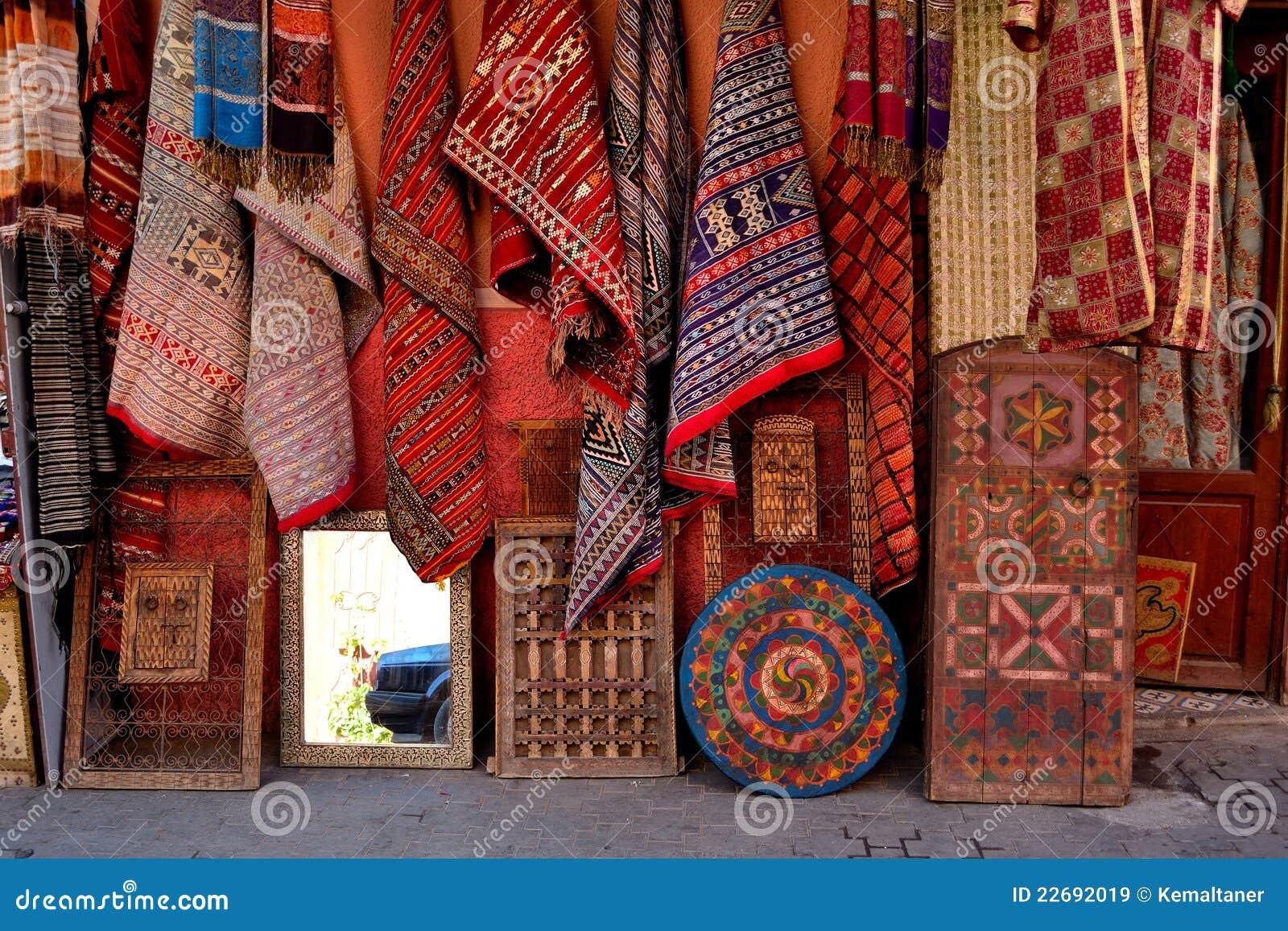 Teppich Und Wolldeckespeicher Im Marrakesch Medina