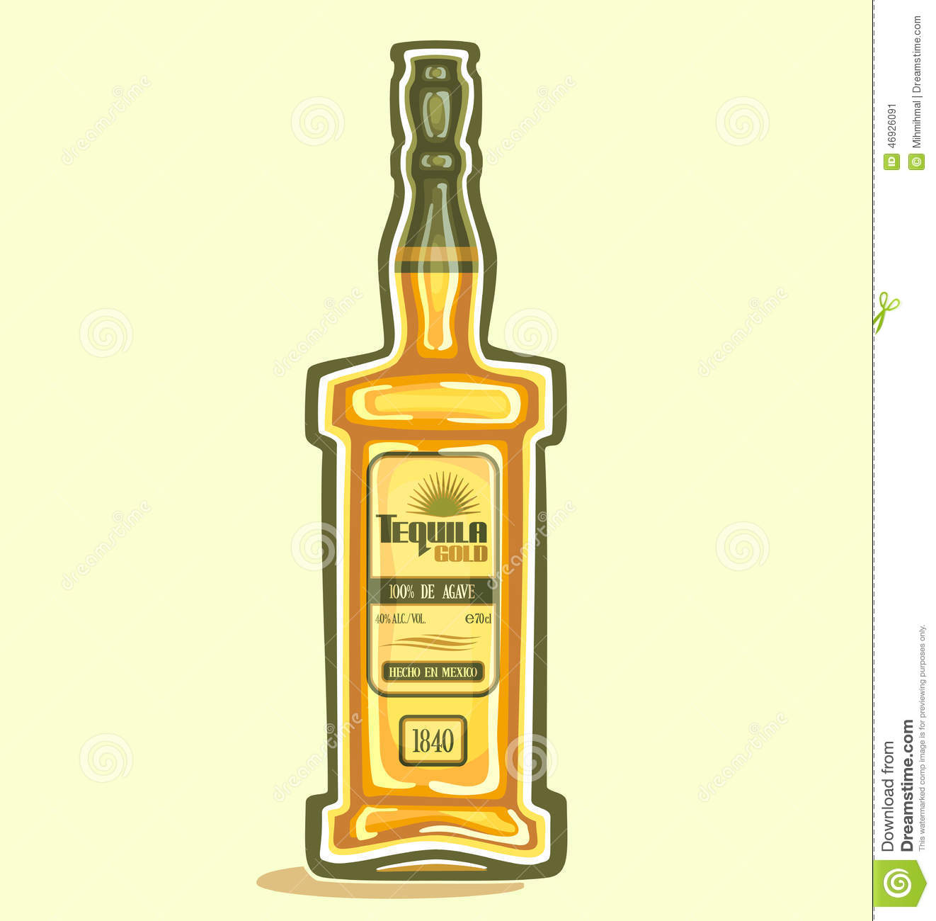 Tequila In The Bottle Stock Vector Image 46926091