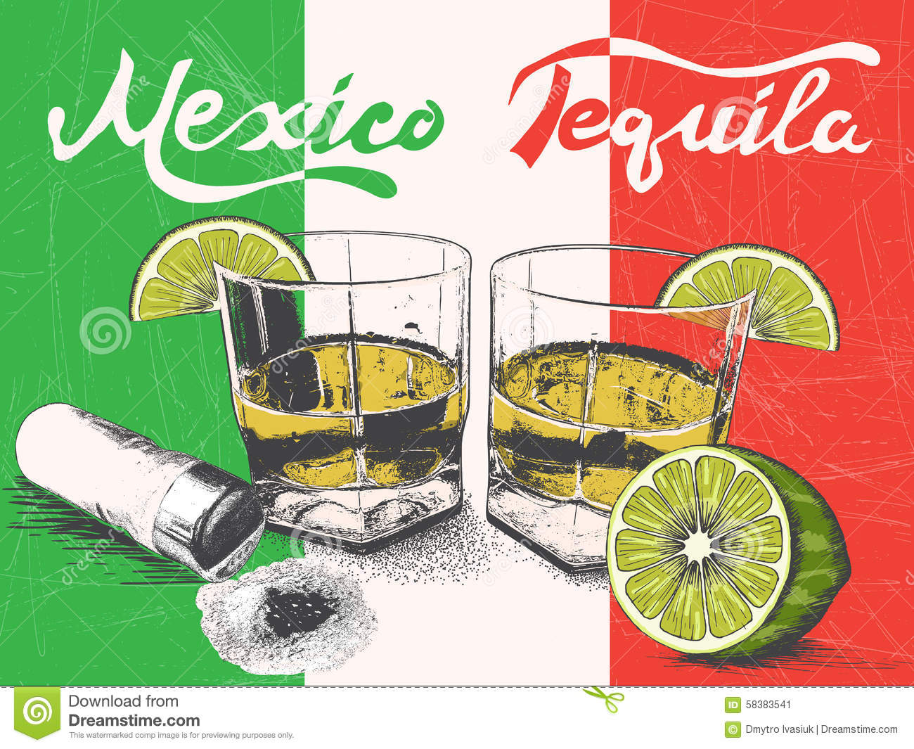 tequila in glasses on mexican flag background stock vector image