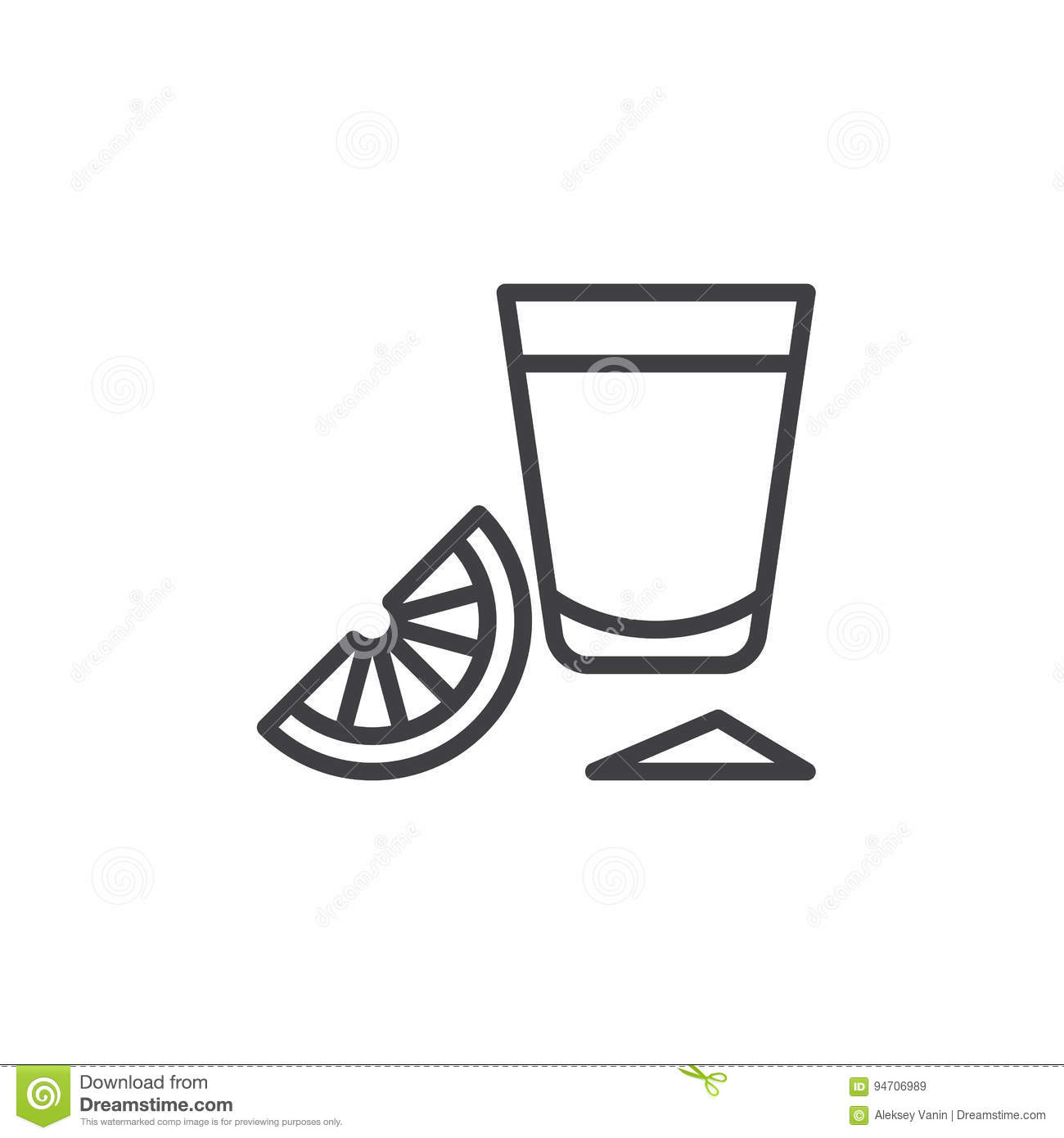 Tequila shot glass with lime slice line icon, outline vector sign, linear style pictogram isolated on white.