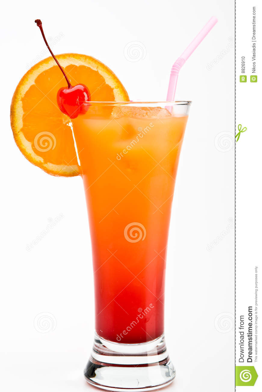 Cocktail Tequila Sunrise Vector Illustration