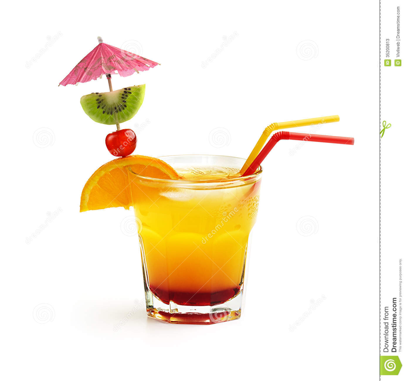 Cocktail with fruit decoration and straws isolated on white background ...