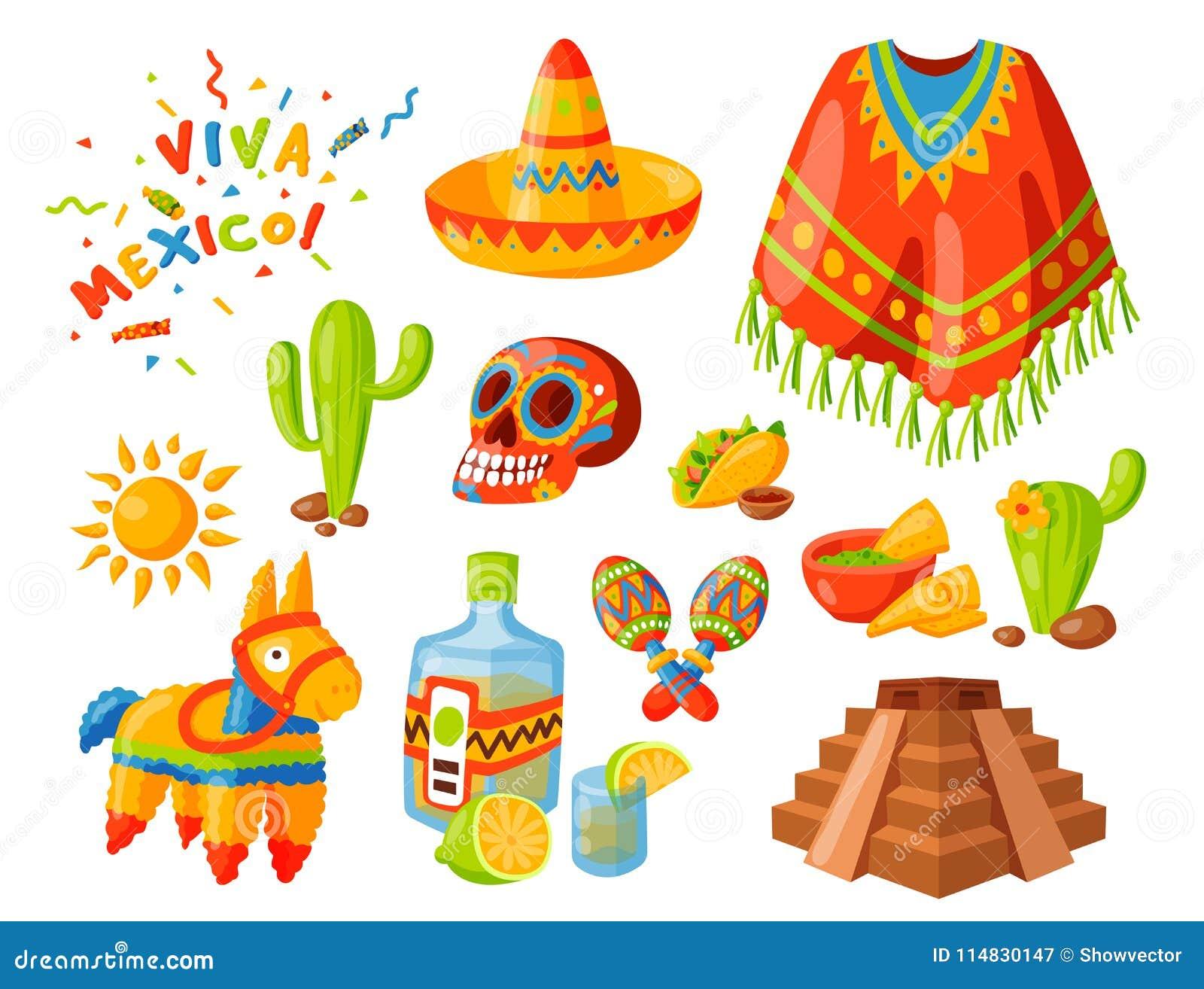 Tequilaalkoholfiestagetränkethnie aztekischer maraca Sombrero Reise der Mexiko-Ikonenvektorillustration traditionelle grafische