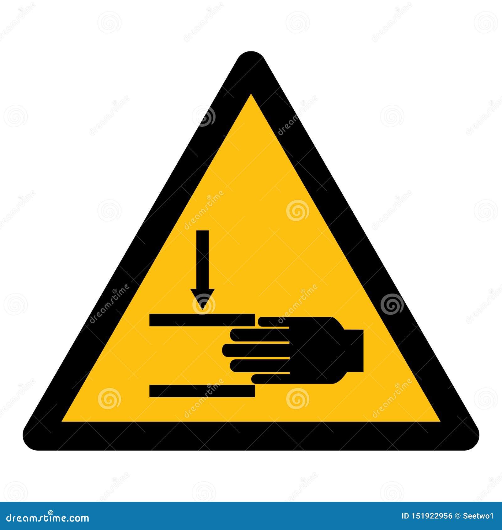 Ter cuidado com o esmagamento do isolado do símbolo da mão no fundo branco, ilustração EPS do vetor 10