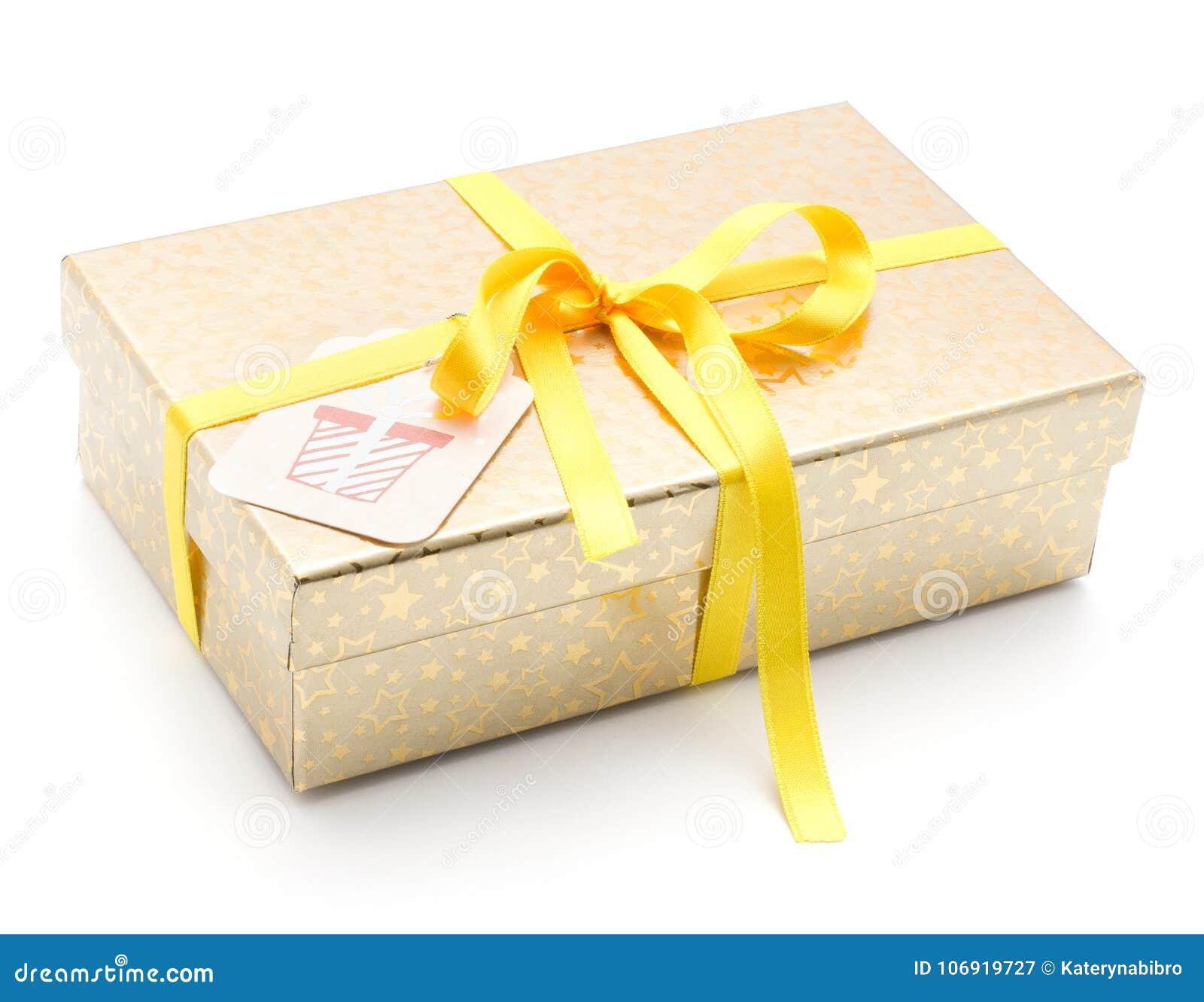 Teraźniejszy pudełko na bielu