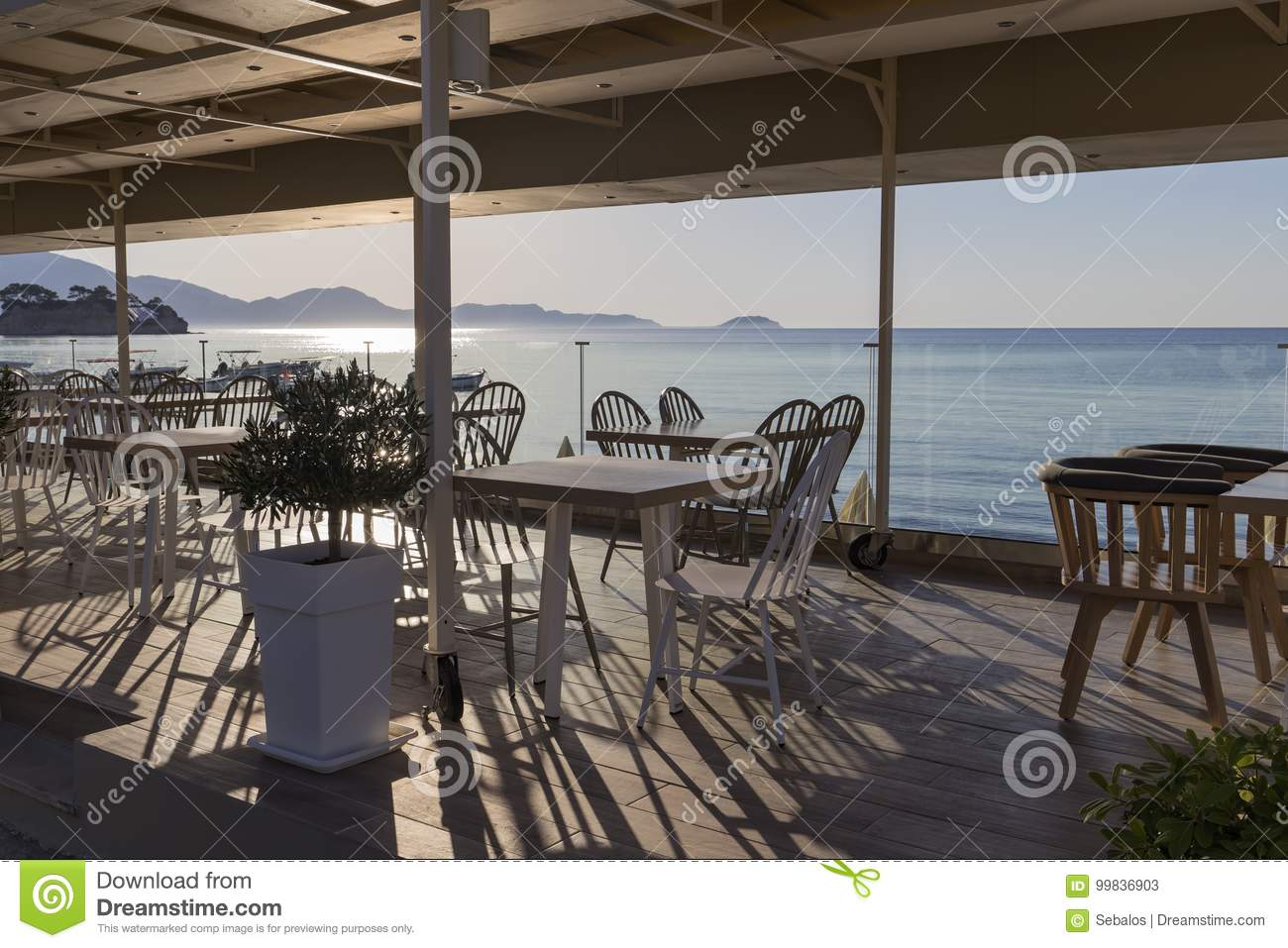 Terace with wooden furniture