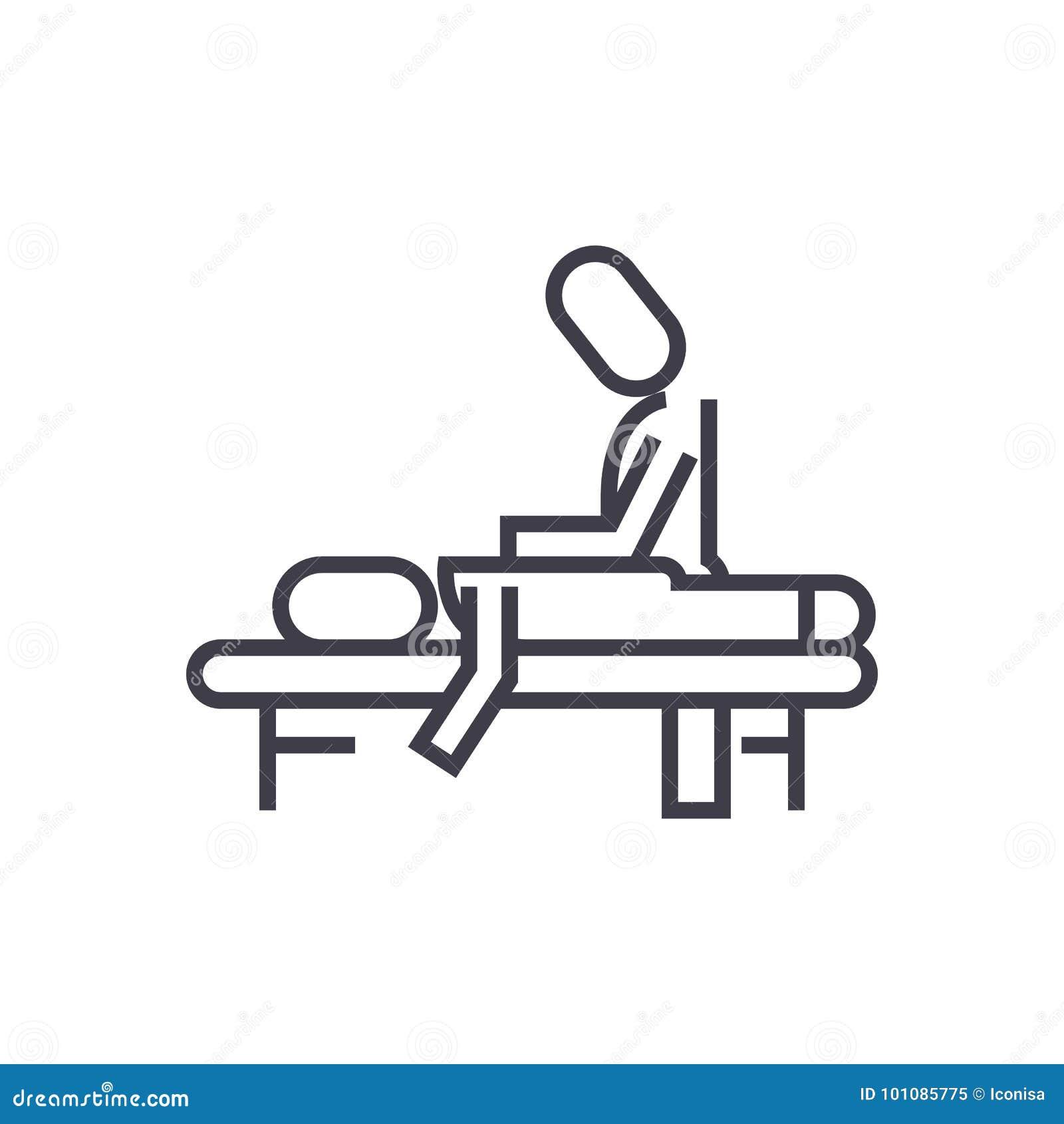 Terapia manual, massagem, termas, linha ícone do vetor do osteopathy, sinal, ilustração no fundo, cursos editáveis