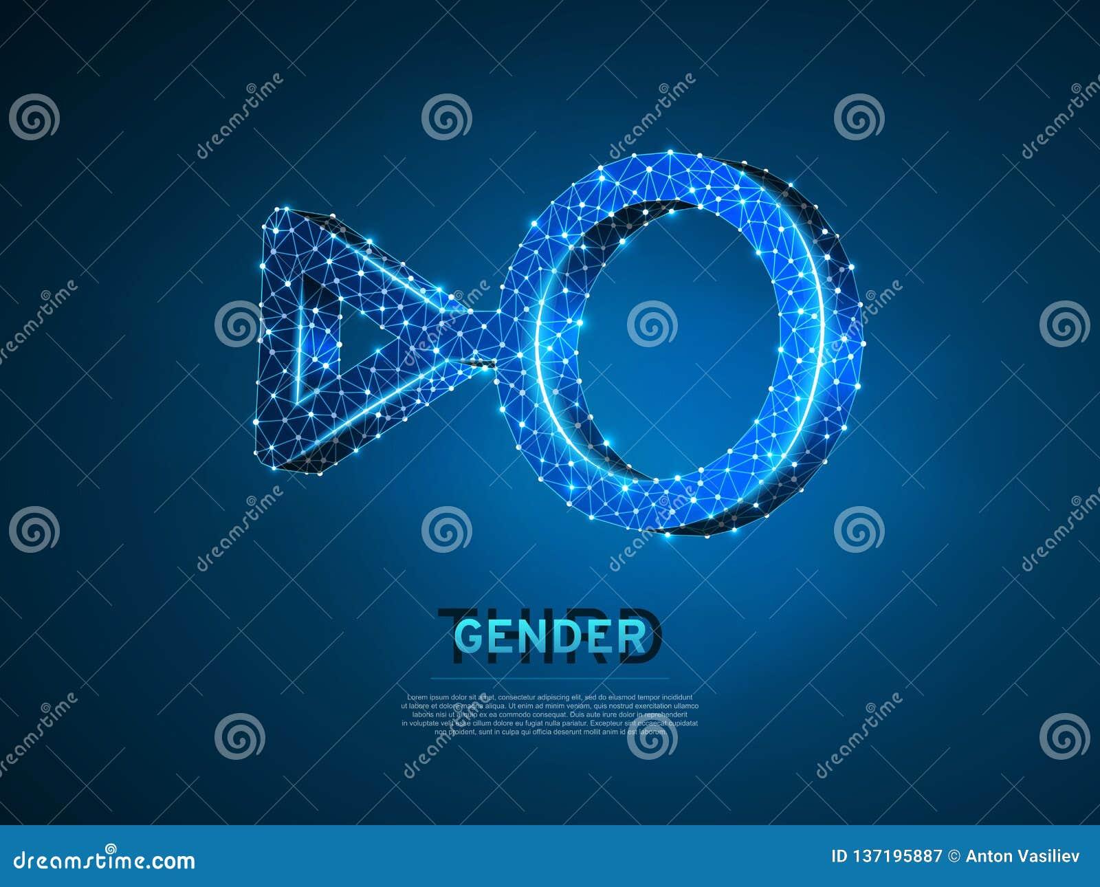 Terceros símbolos del género Vector individual polivinílico bajo LGBT de neón poligonal del extracto de la identidad del ejemplo