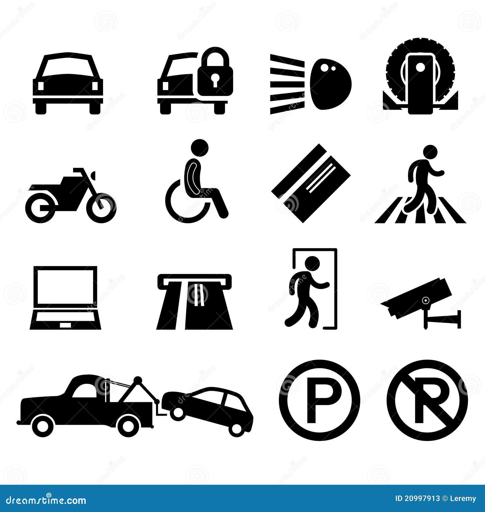 Terenu samochodowy ikony parka parking piktograma znaka symbol