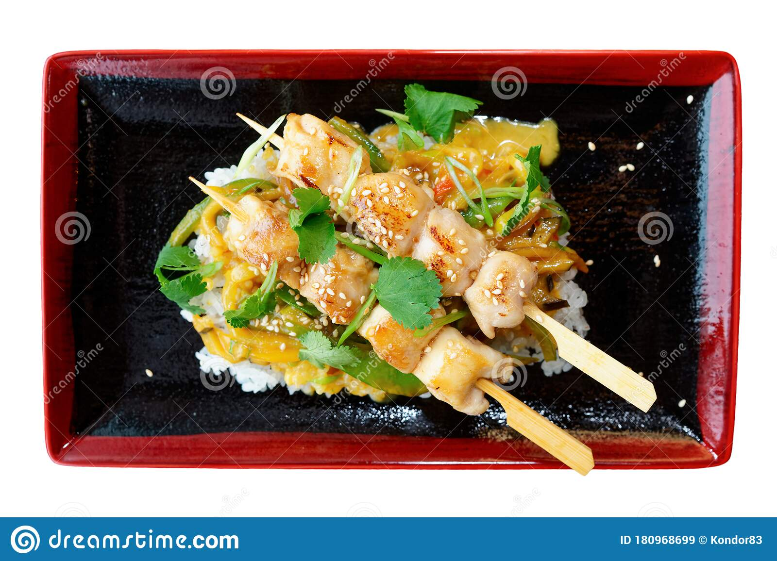 Teriyaki Chicken With Rice Isolated On White Stock Image Image Of Sesame Chicken 180968699