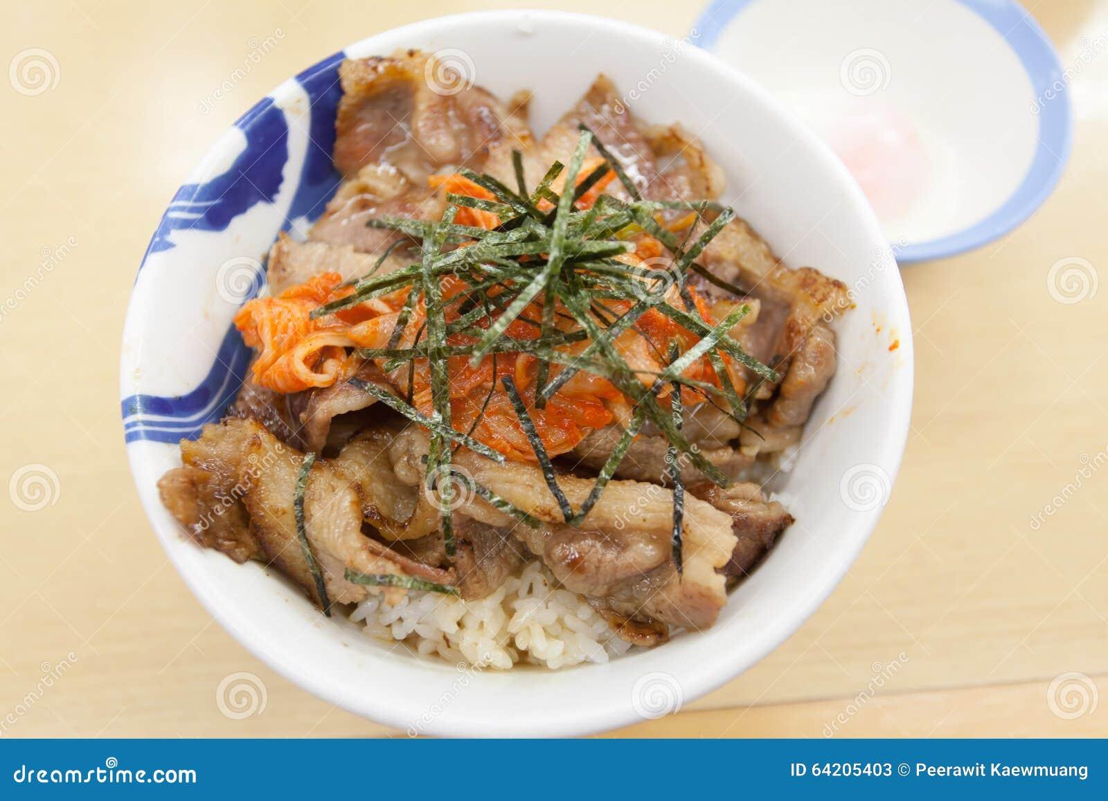 Teriyaki del cerdo con arroz y la verdura