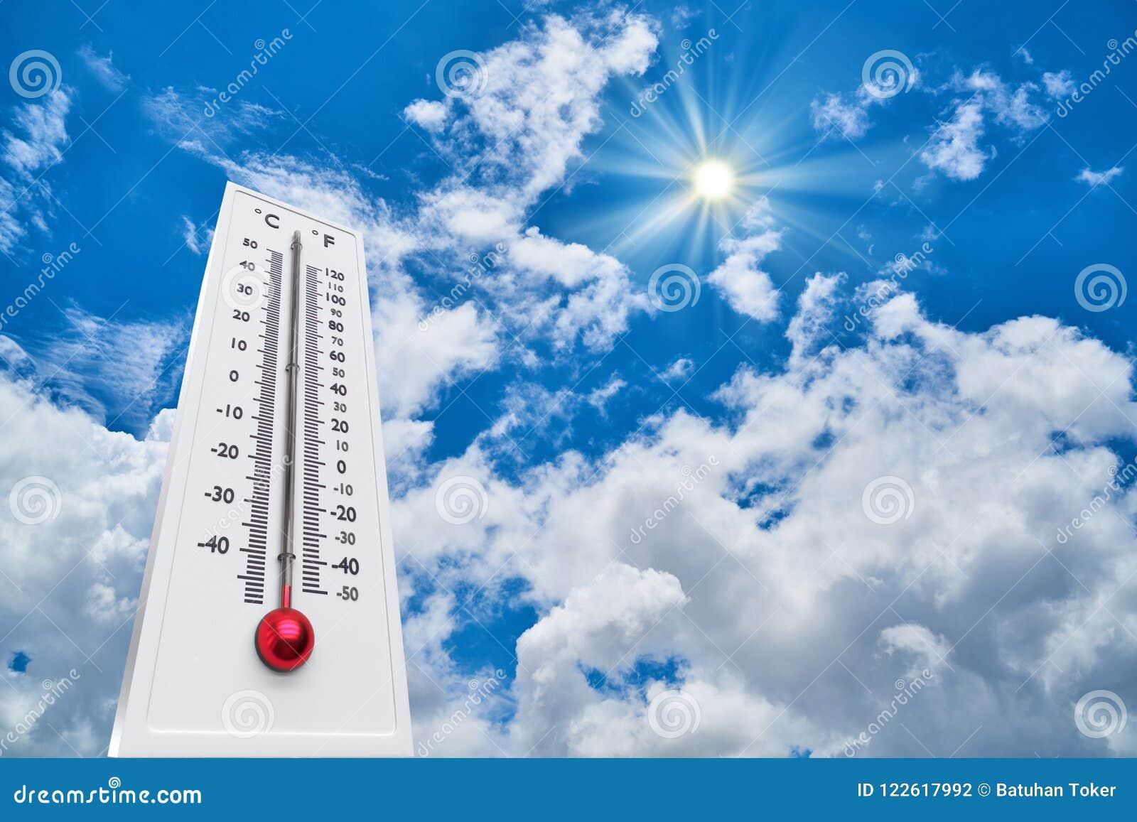 Termómetro Sun alto Degres Día de verano caliente Altas temperaturas del verano