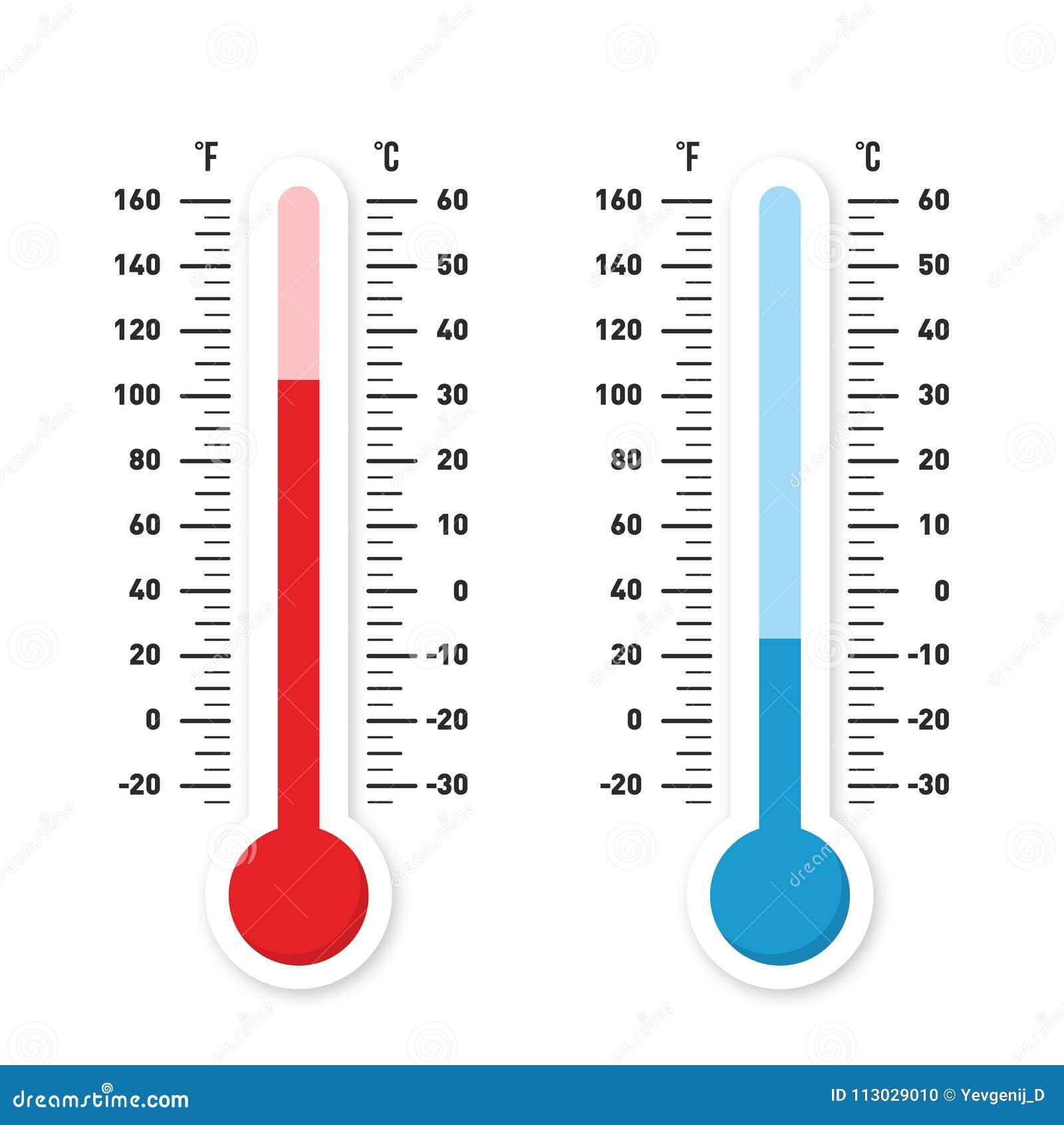 Termómetros que miden calor y temperatura fría Termómetros rojos y azules con la escala de Celsius y de Fahrenheit