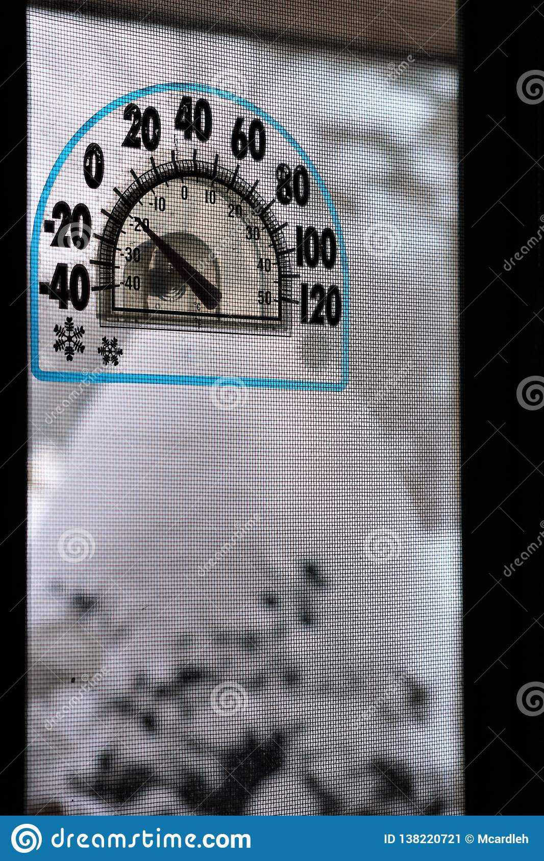 Termômetro abaixo de zero
