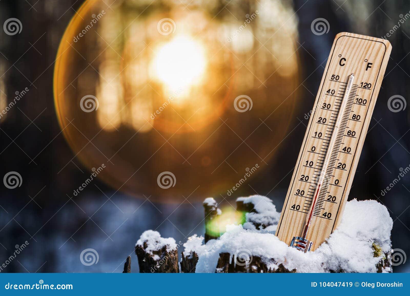 Termômetro com temperaturas abaixo de zero